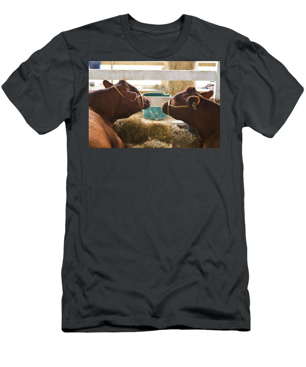 Agriculture Men's T-Shirt (Athletic Fit) featuring the painting Two Cows by Jeelan Clark