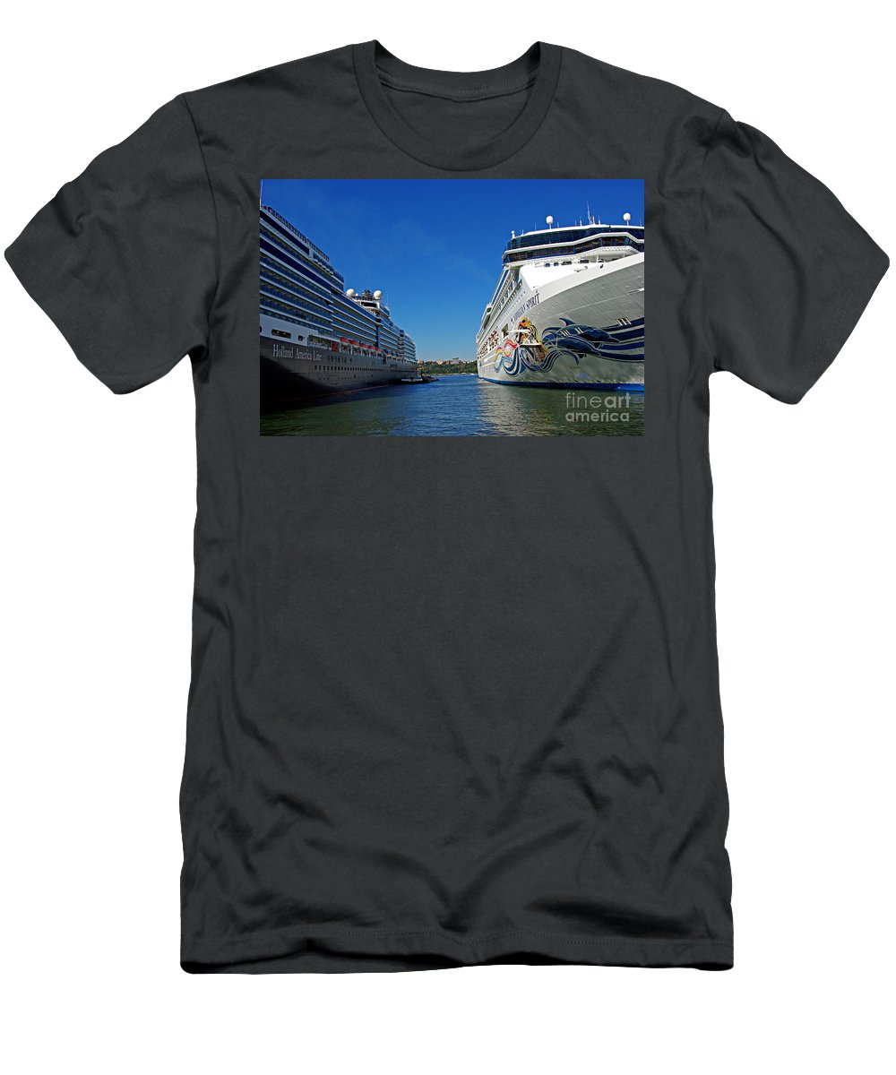 Cruise Men's T-Shirt (Athletic Fit) featuring the photograph Two Cruise Ships by Zal Latzkovich