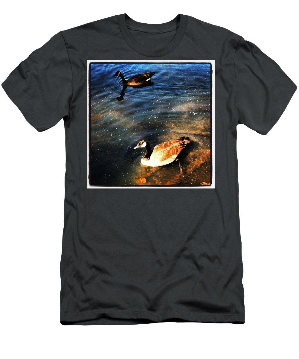 Ducks Men's T-Shirt (Athletic Fit) featuring the photograph Two Ducks by Artie Rawls