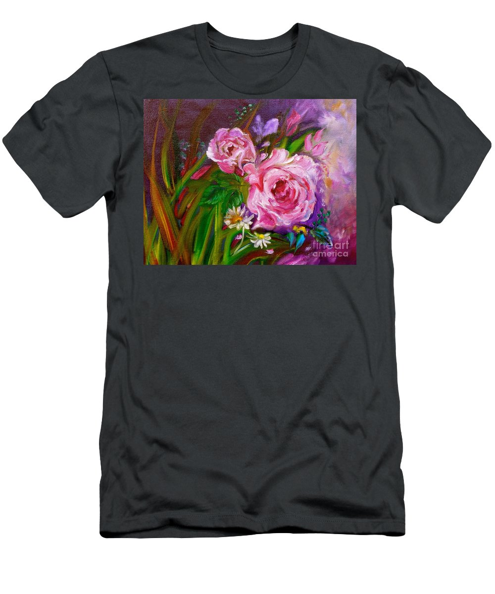 Roses Men's T-Shirt (Athletic Fit) featuring the painting Two Pinks Jenny Lee Discount by Jenny Lee