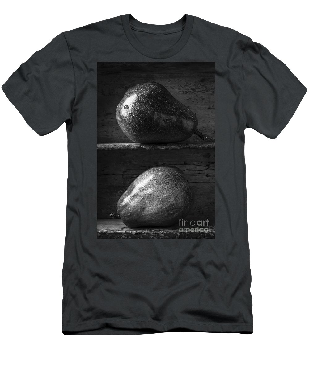 Fruit Men's T-Shirt (Athletic Fit) featuring the photograph Two Ripe Pears In Black And White by Edward Fielding