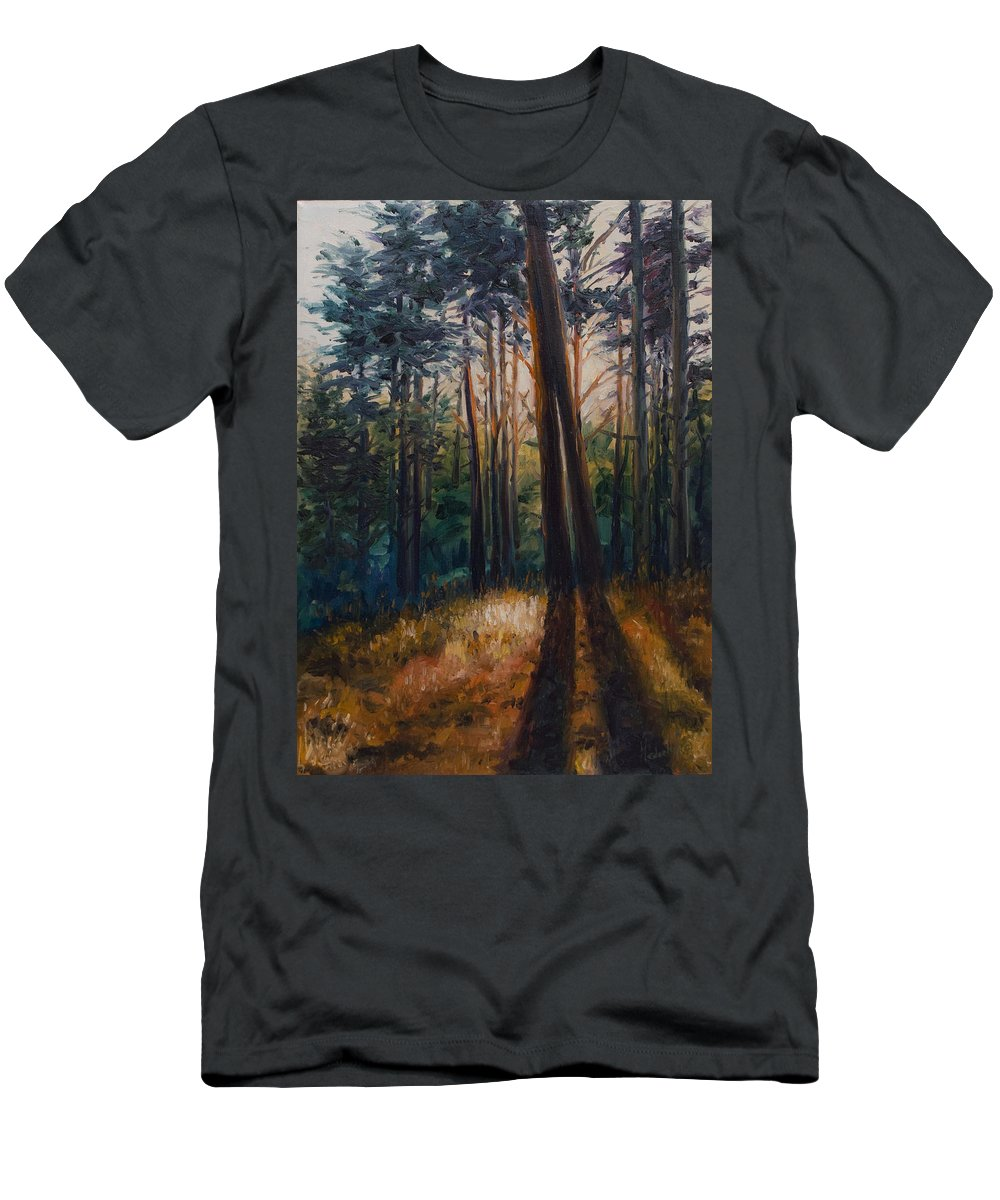 Trees Men's T-Shirt (Athletic Fit) featuring the painting Two Trees by Rick Nederlof