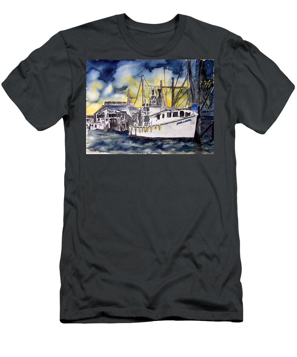 Georgia Men's T-Shirt (Athletic Fit) featuring the painting Tybee Island Georgia Boat by Derek Mccrea