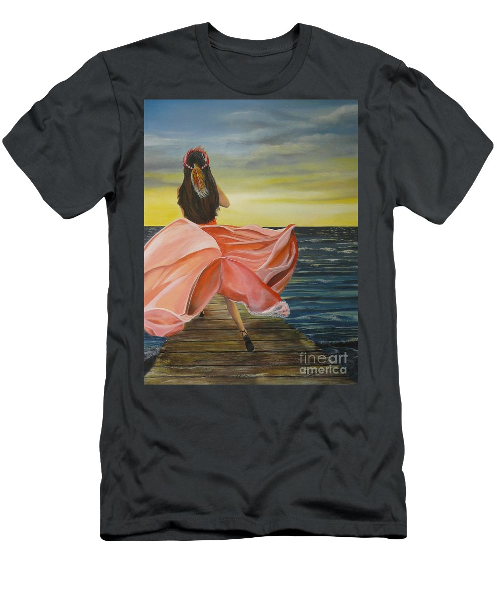 Sunset Men's T-Shirt (Athletic Fit) featuring the painting Uhane O Ka Welo by Kris Crollard