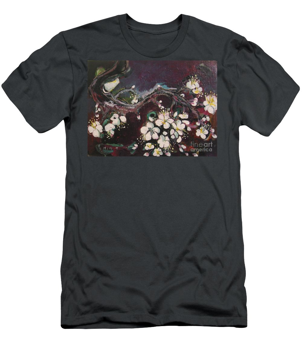 Ume Blossoms Paintings Men's T-Shirt (Athletic Fit) featuring the painting Ume Blossoms by Seon-Jeong Kim