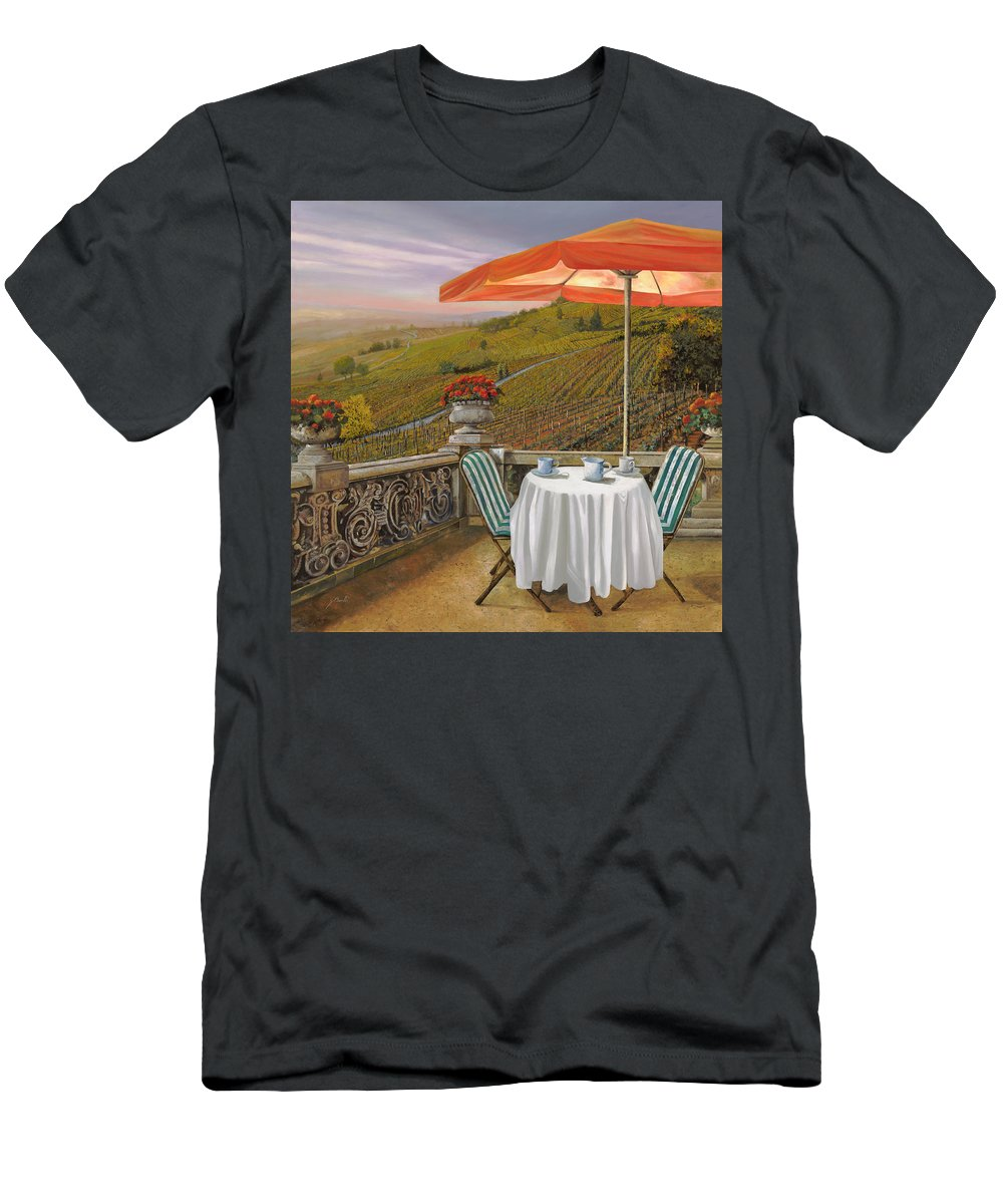 Vineyard Men's T-Shirt (Athletic Fit) featuring the painting Un Caffe by Guido Borelli