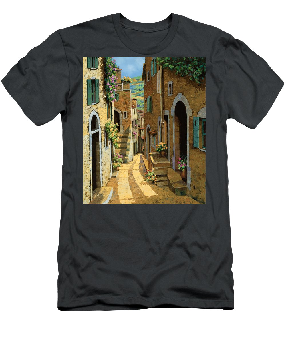 Village Men's T-Shirt (Athletic Fit) featuring the painting Un Passaggio Tra Le Case by Guido Borelli