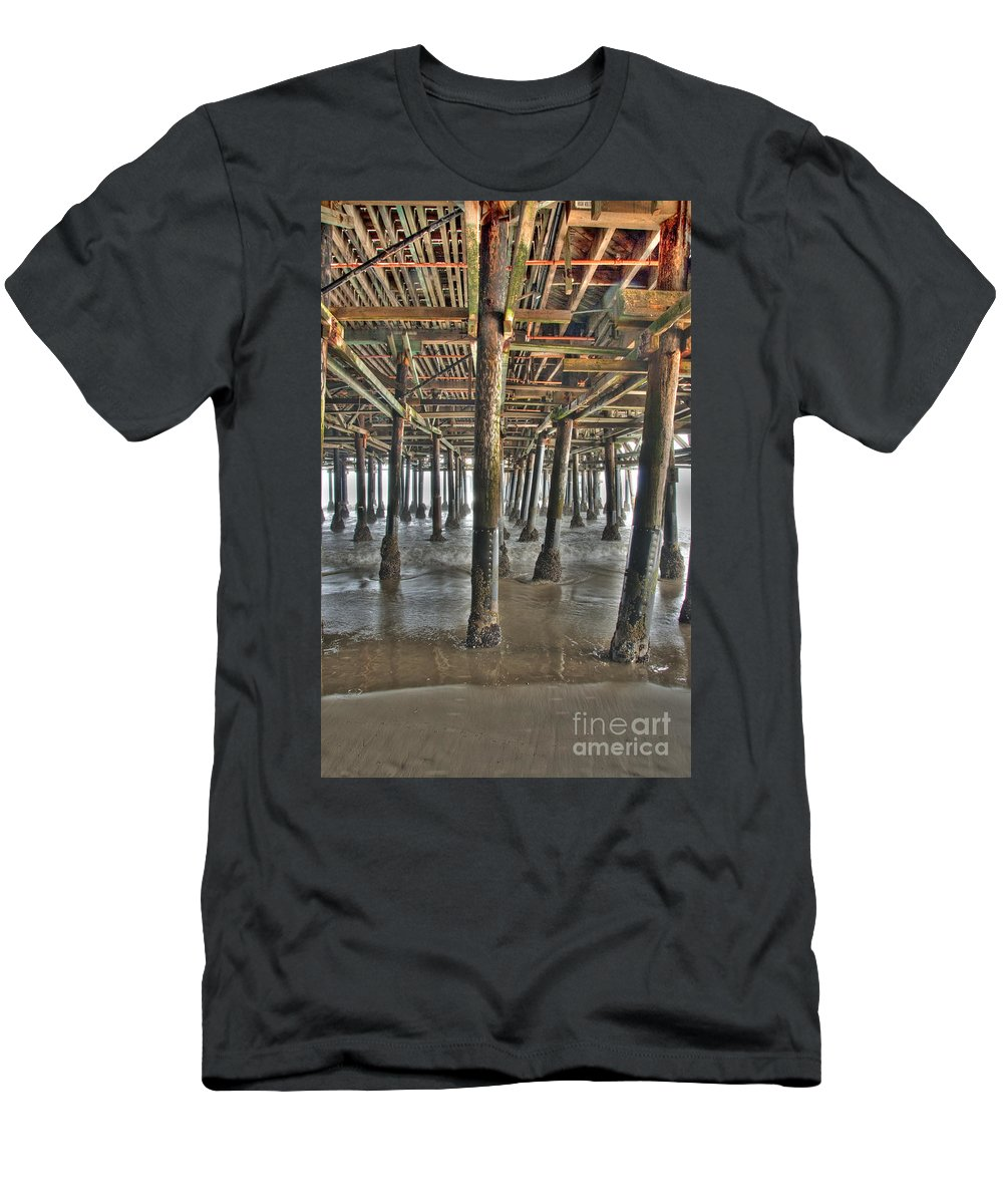 Under The Boardwalk Men's T-Shirt (Athletic Fit) featuring the photograph Under The Boardwalk Pier Sunbeams by David Zanzinger