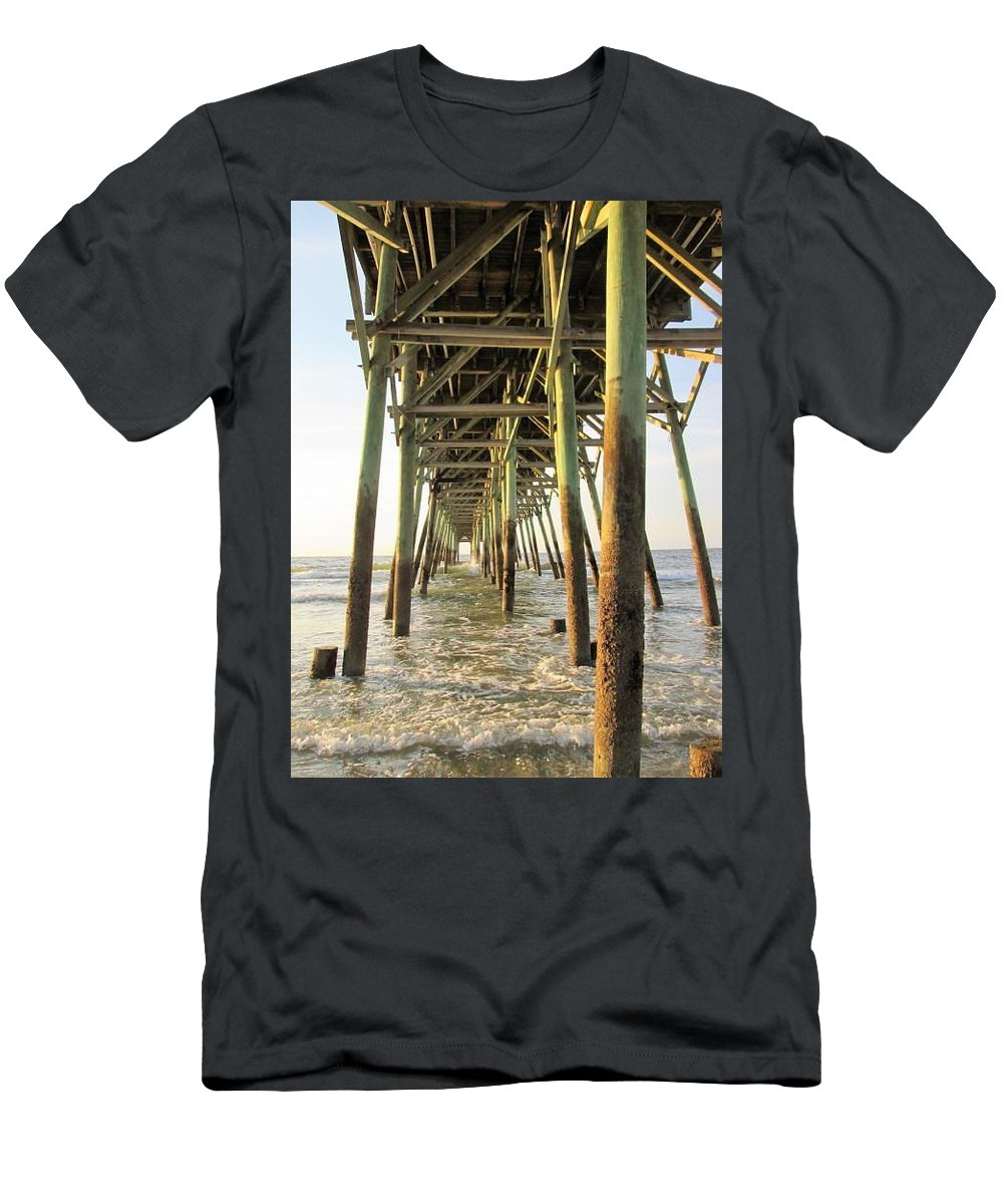 Ocean Men's T-Shirt (Athletic Fit) featuring the photograph Under The Pier by Jeanette Conrad