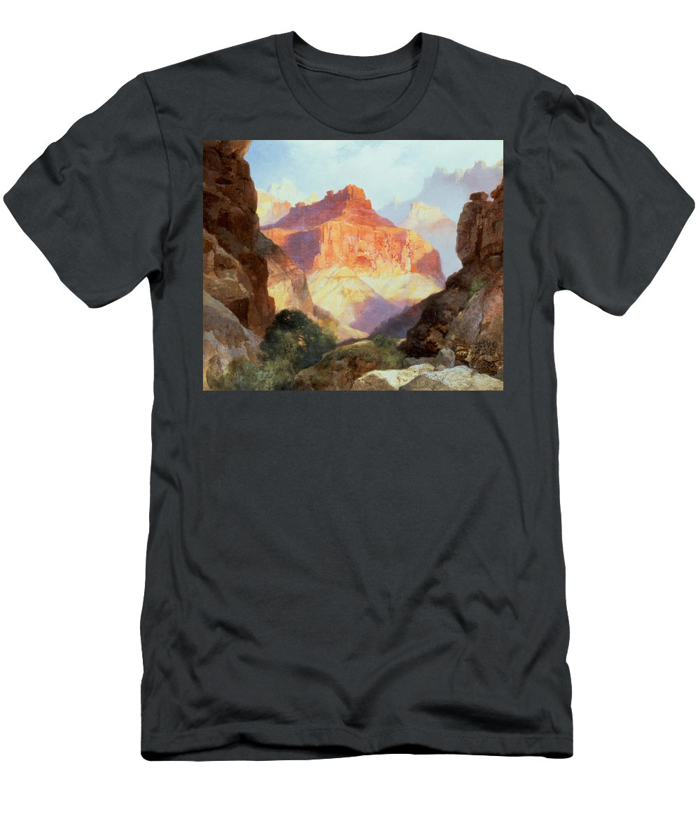 Under Under The Red Wall Men's T-Shirt (Athletic Fit) featuring the painting Under The Red Wall by Thomas Moran