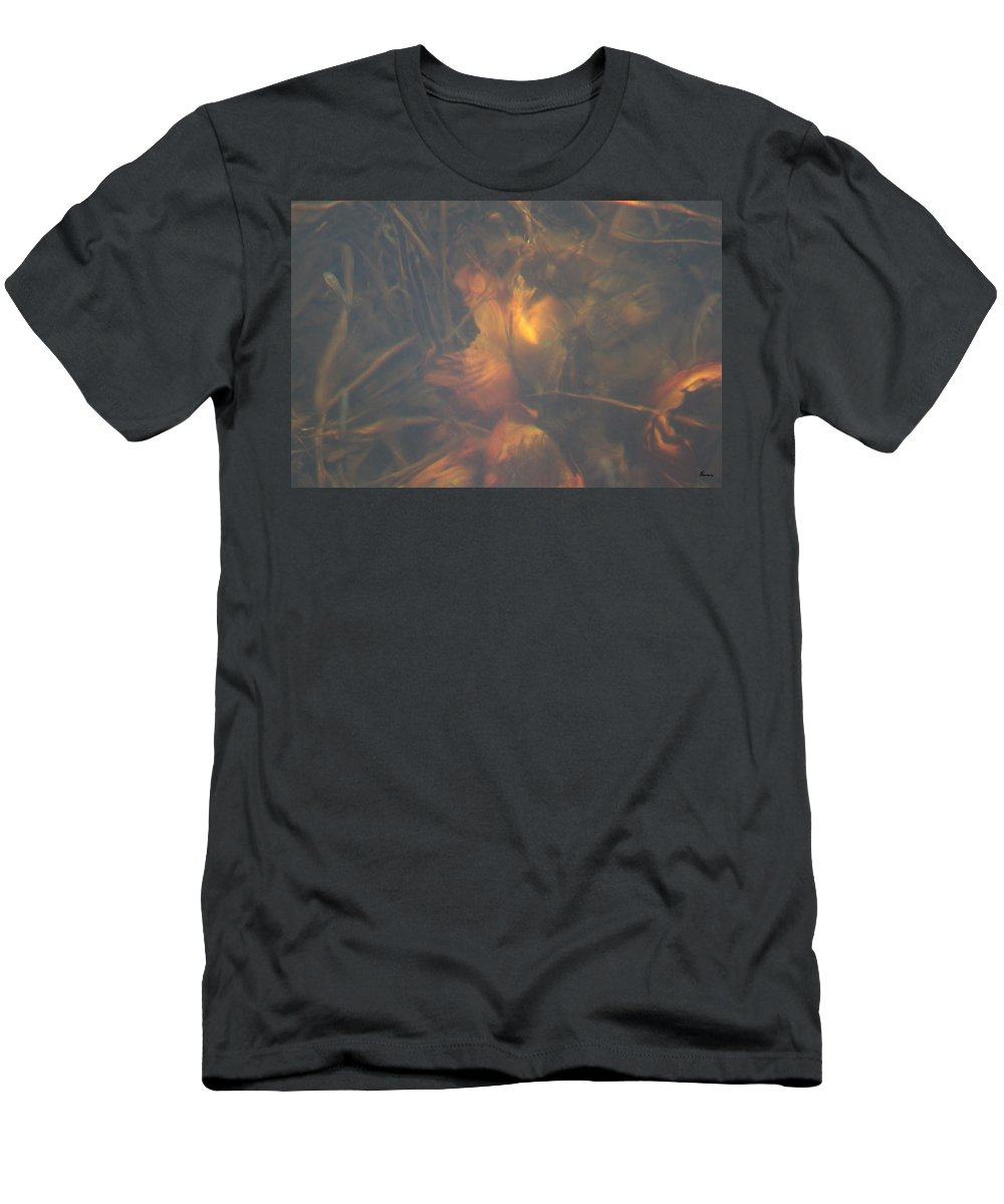 Waterlily Lake Water Fish Minnow Plants Lakebed Nature Wild Men's T-Shirt (Athletic Fit) featuring the photograph Under Waterlily by Andrea Lawrence