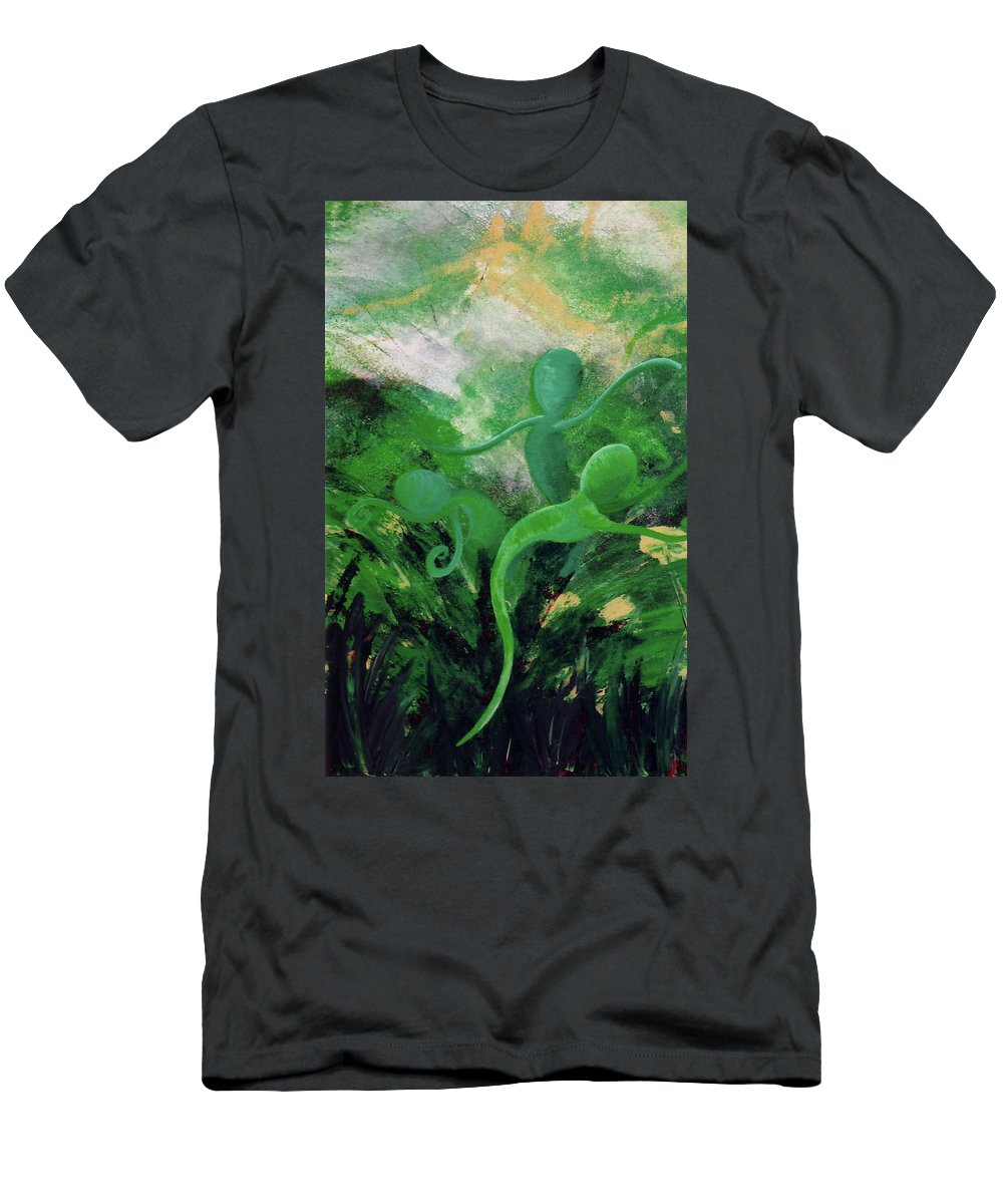 Unfurling Men's T-Shirt (Athletic Fit) featuring the painting Unfurling Rainbow Soul Collection by Catt Kyriacou