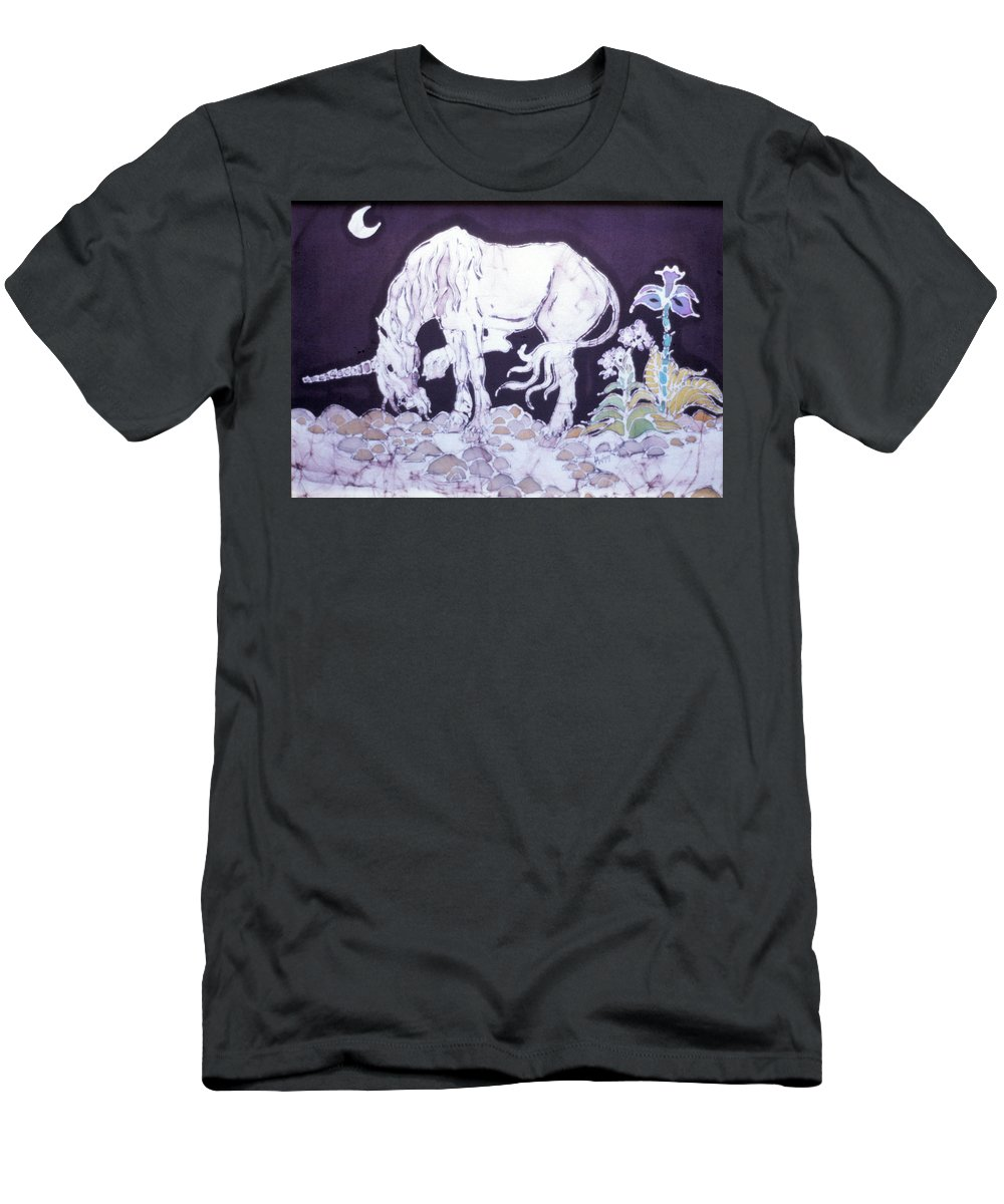 Unicorn Men's T-Shirt (Athletic Fit) featuring the tapestry - textile Unicorn Pauses by Carol Law Conklin