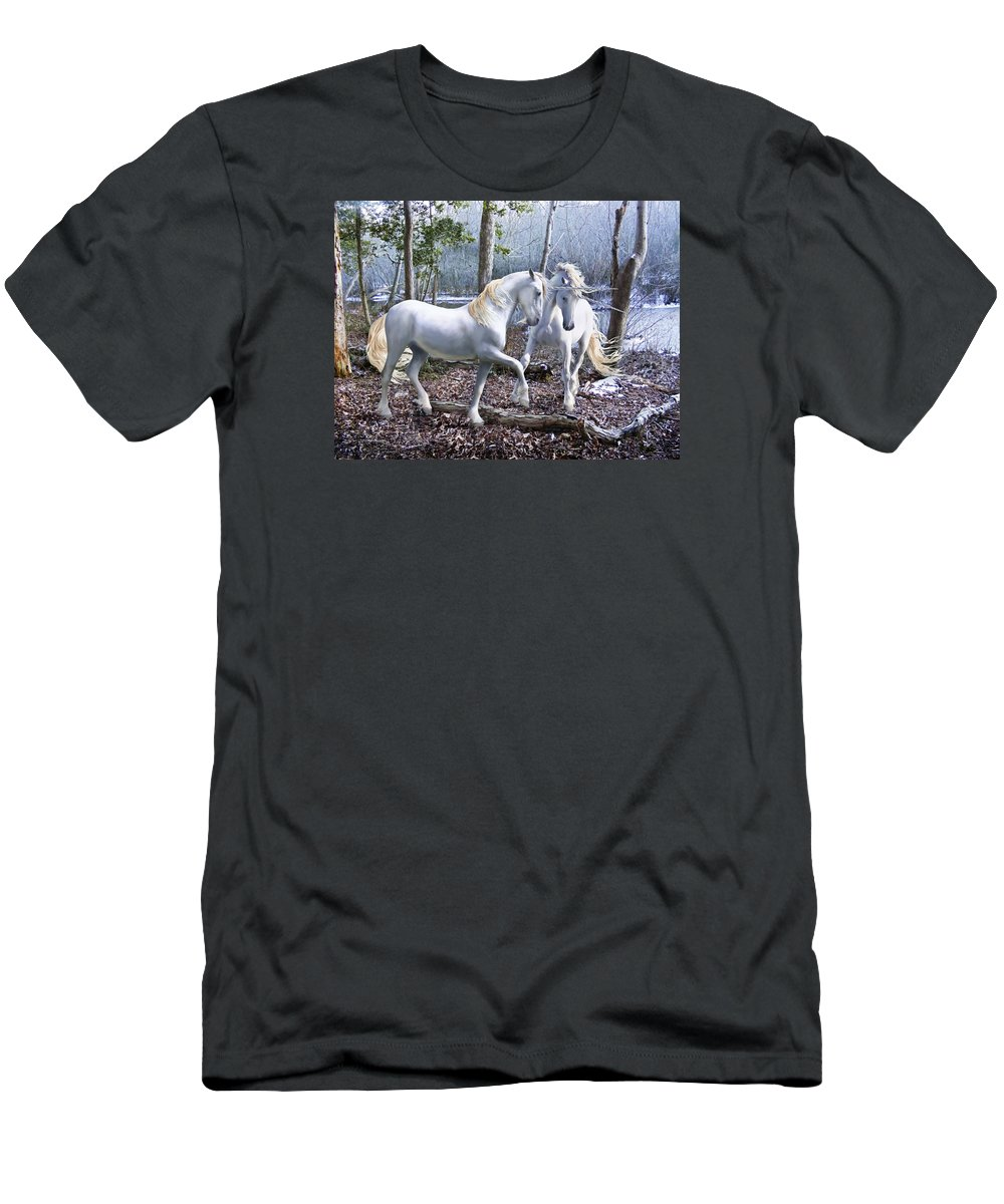 Unicorn Men's T-Shirt (Athletic Fit) featuring the photograph Unicorn Reunion by Barbara Hymer