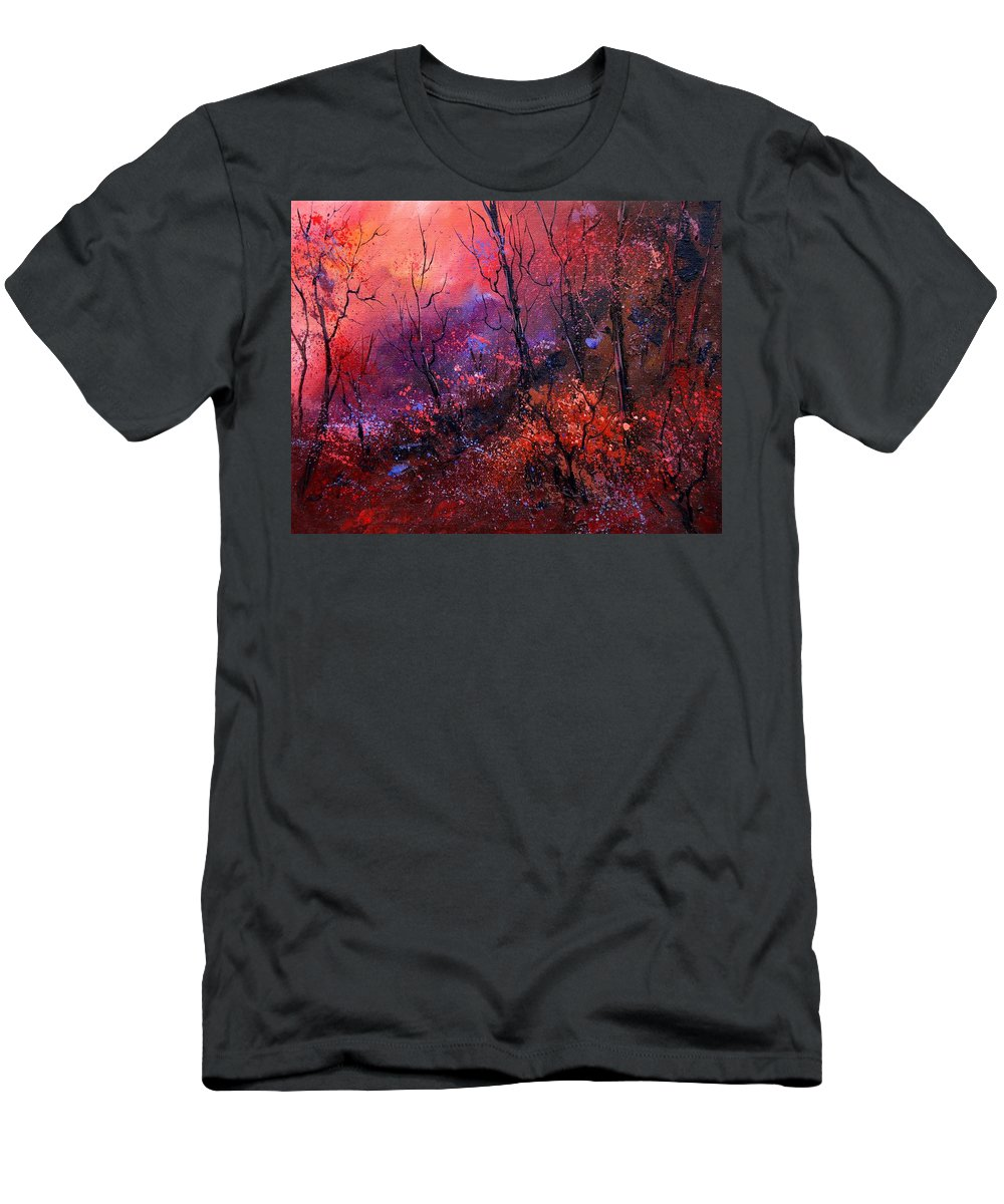 Wood Sunset Tree Men's T-Shirt (Athletic Fit) featuring the painting Unset In The Wood by Pol Ledent