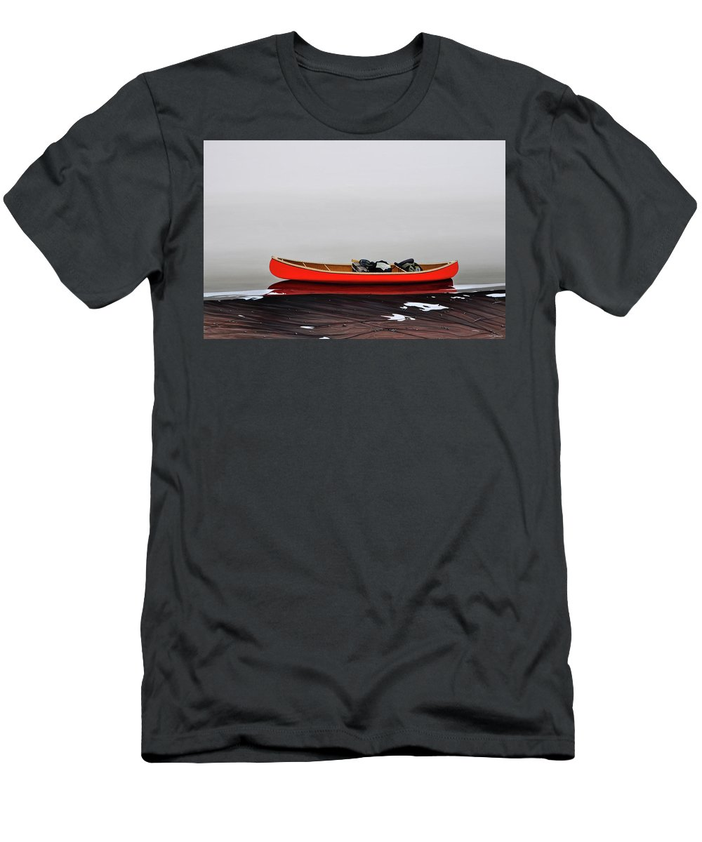Landscape Paintings Men's T-Shirt (Athletic Fit) featuring the painting Until The Fog Lifts by Kenneth M Kirsch