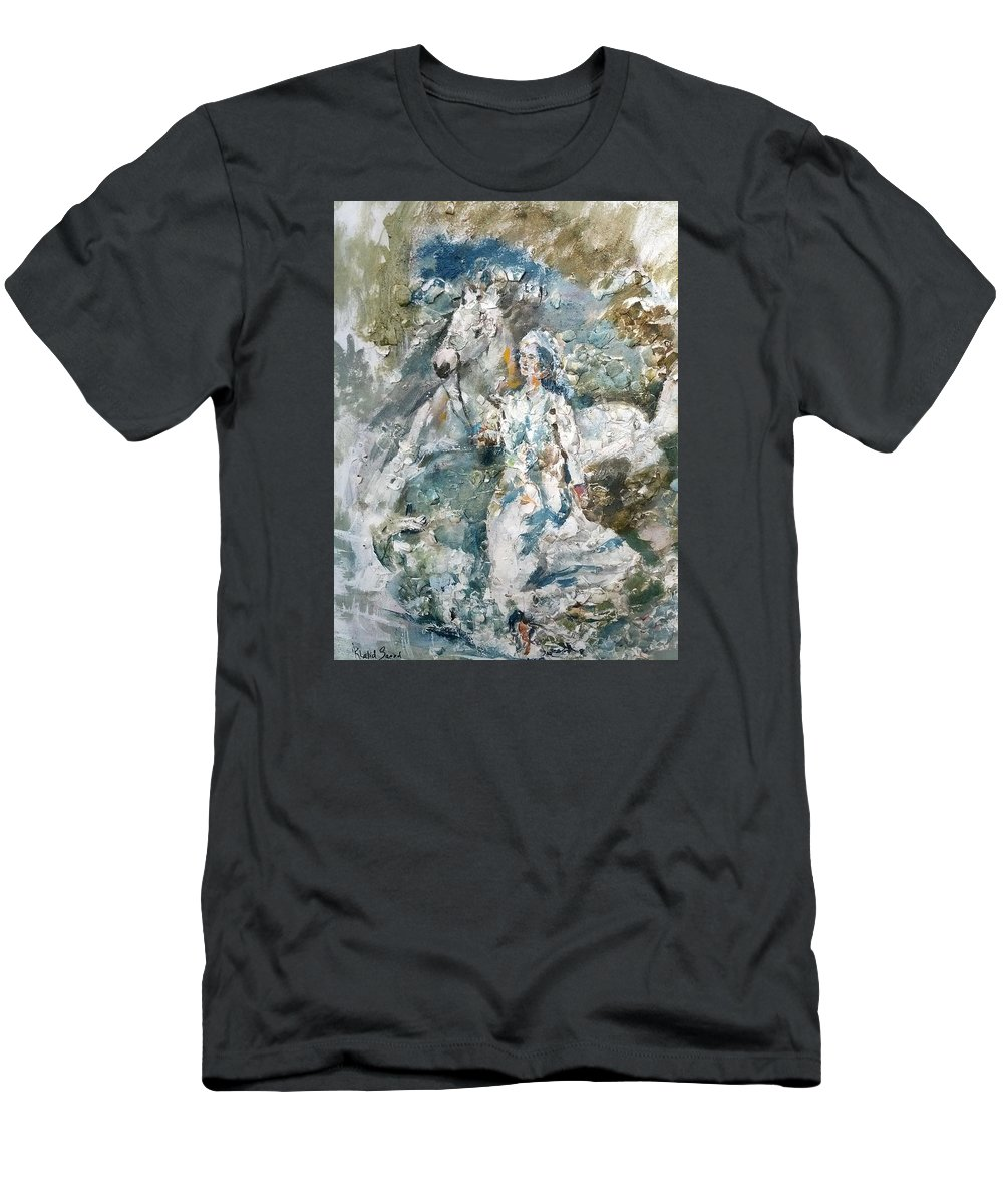 Horse Men's T-Shirt (Athletic Fit) featuring the mixed media Dreams by Khalid Saeed