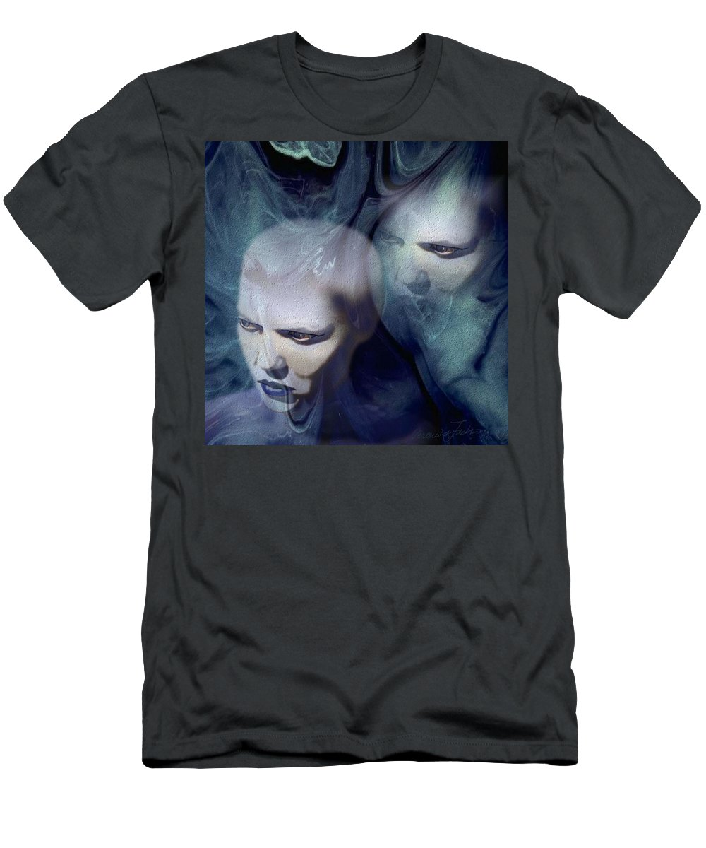 Dream Afterlife Experience Blue Smoke Men's T-Shirt (Athletic Fit) featuring the digital art Untitled by Veronica Jackson