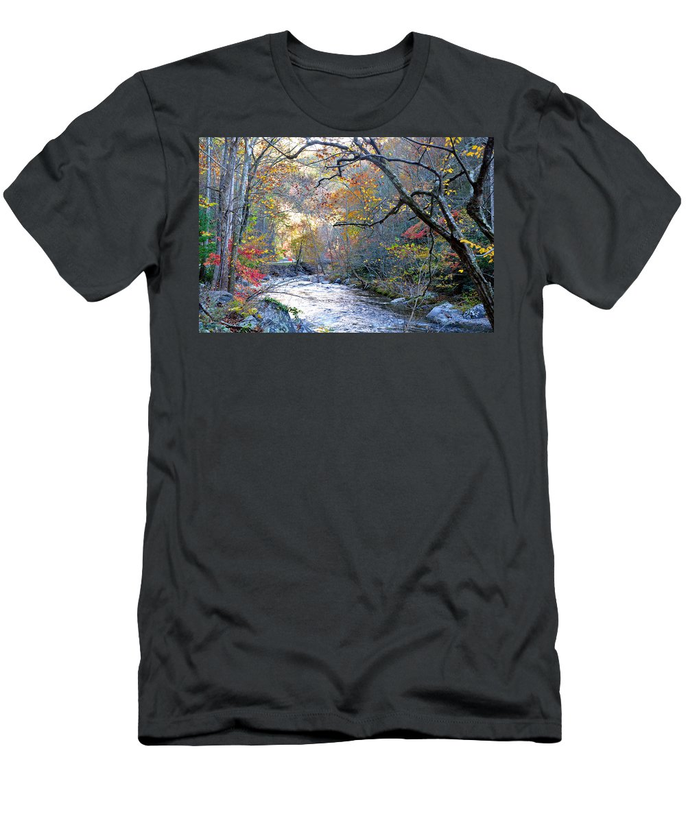 Smokey Mountain Men's T-Shirt (Athletic Fit) featuring the photograph Up The Mountain We Go by Brittany Horton