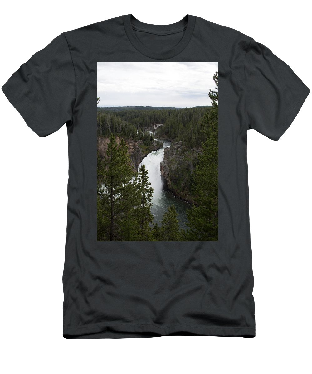Yellowstone National Park Men's T-Shirt (Athletic Fit) featuring the photograph Upper Falls by Linda Kerkau