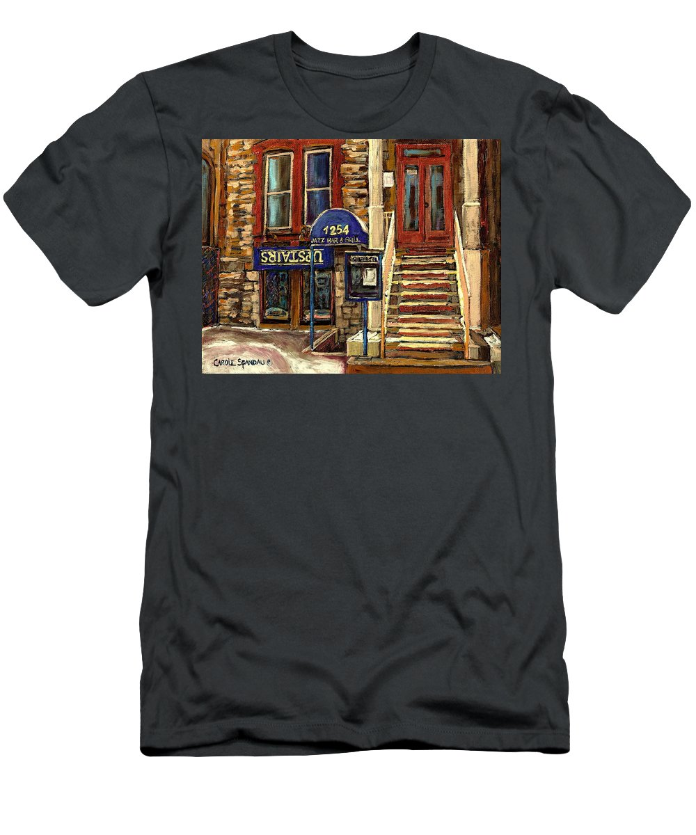 Upstairs Bar And Grill Men's T-Shirt (Athletic Fit) featuring the painting Upstairs Jazz Bar And Grill Montreal by Carole Spandau