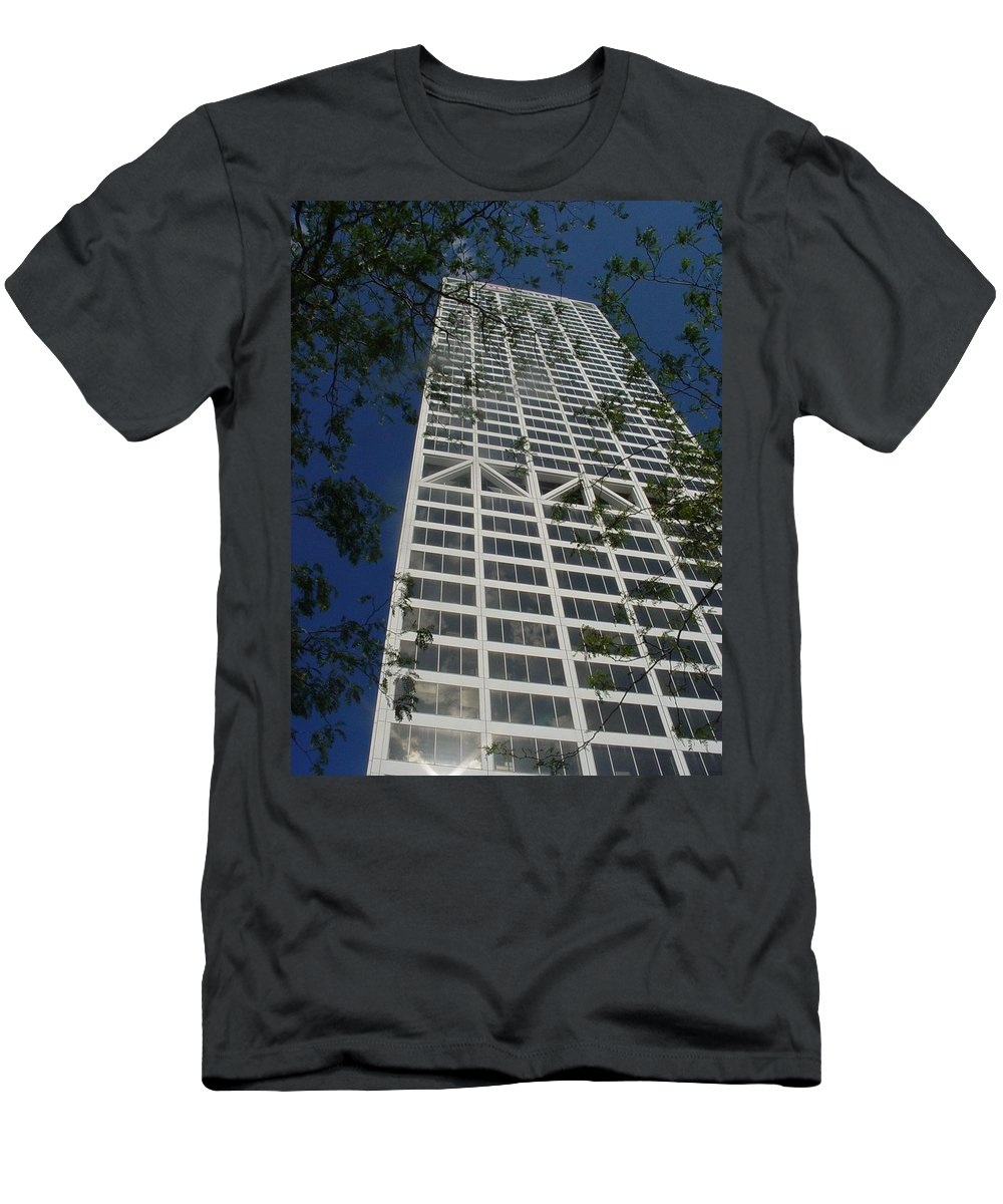 Us Bank Men's T-Shirt (Athletic Fit) featuring the photograph Us Bank With Trees by Anita Burgermeister