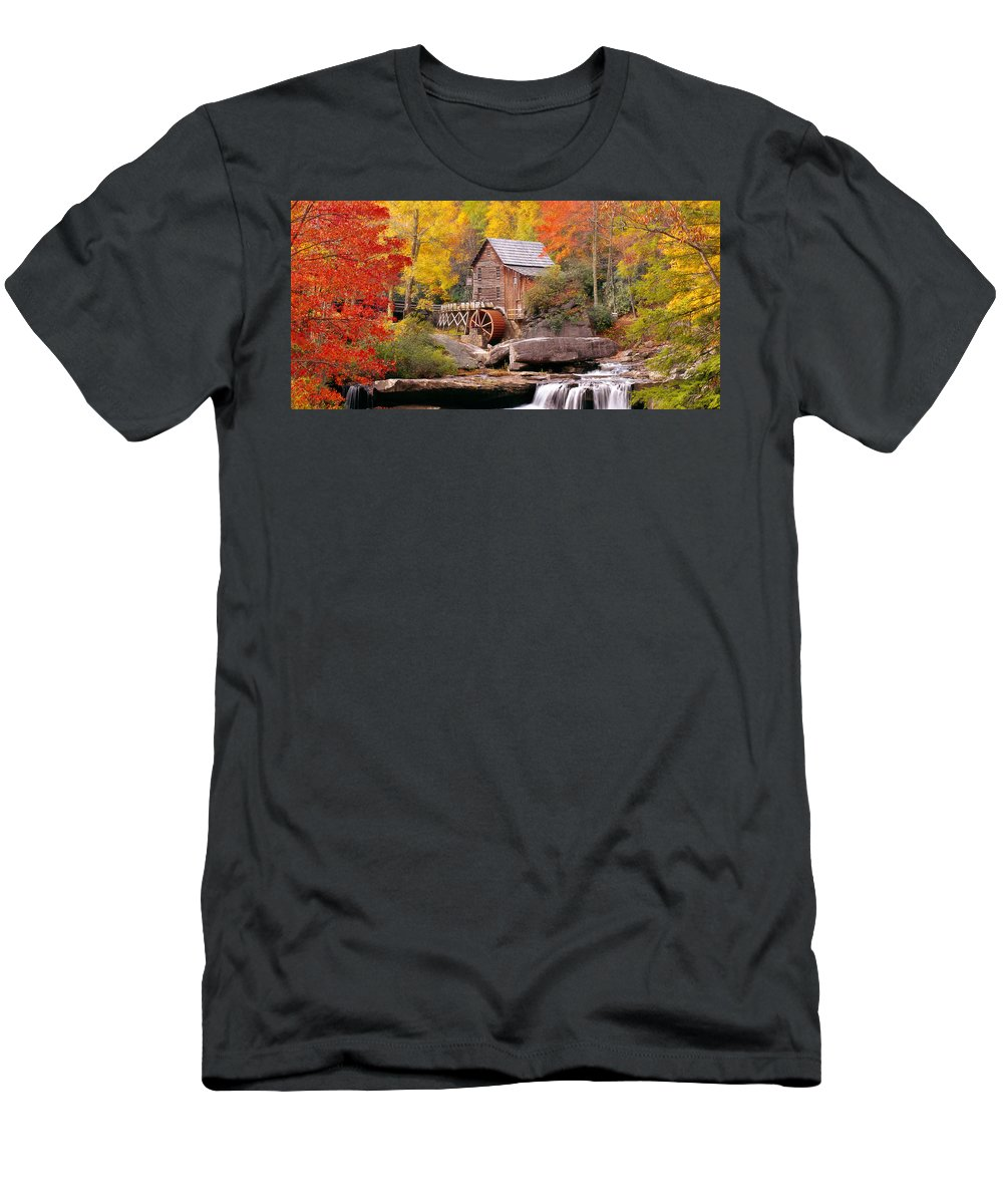 Photography Men's T-Shirt (Athletic Fit) featuring the photograph Usa, West Virginia, Glade Creek Grist by Panoramic Images