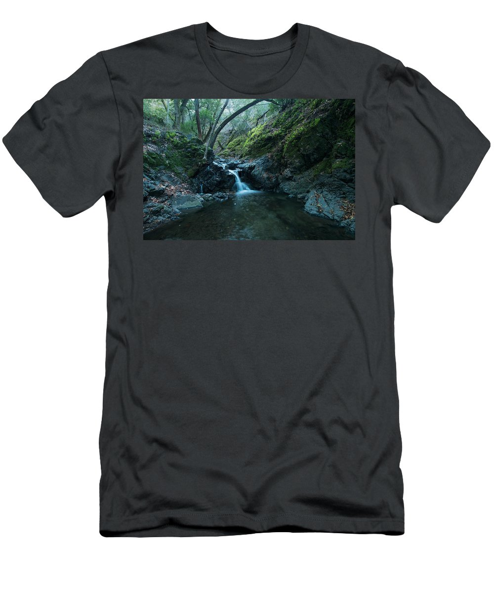 Landscape Men's T-Shirt (Athletic Fit) featuring the photograph Uvas Canyon Waterfall II by Eden Feil