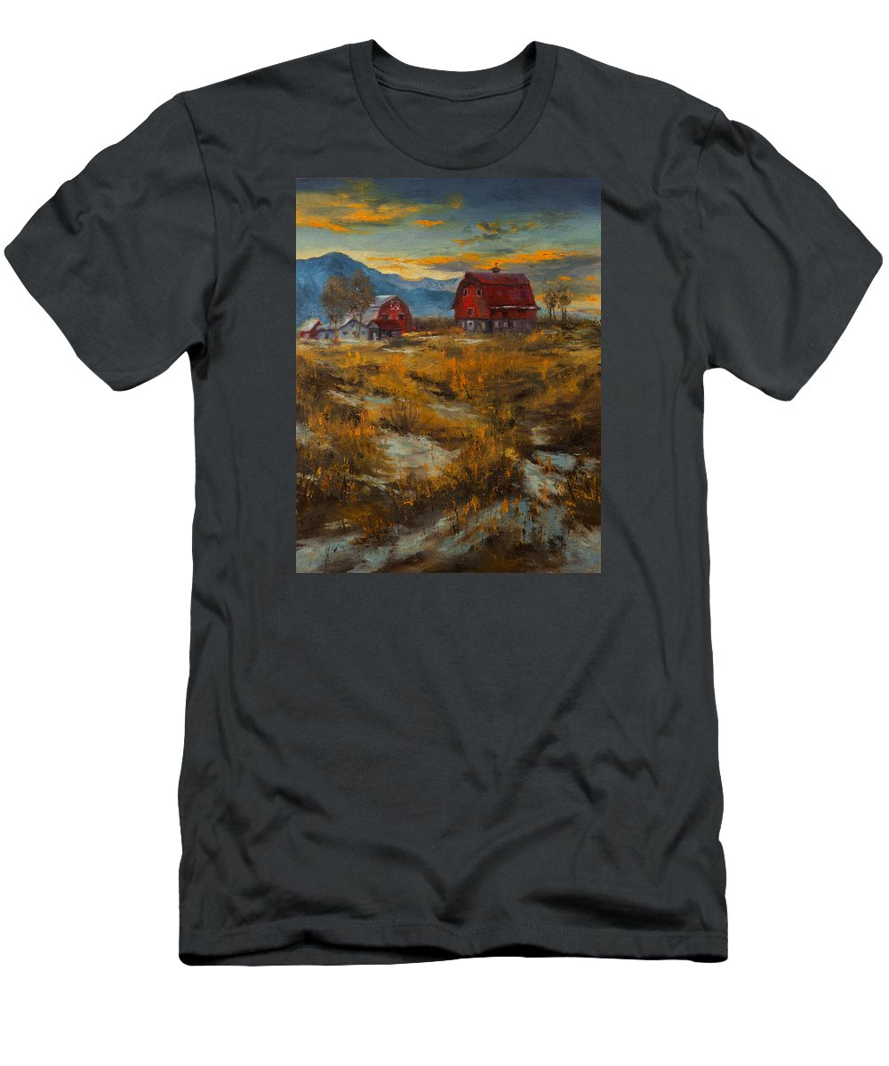 Farm Men's T-Shirt (Athletic Fit) featuring the painting Valley Farm Sunset by Dan Twitchell