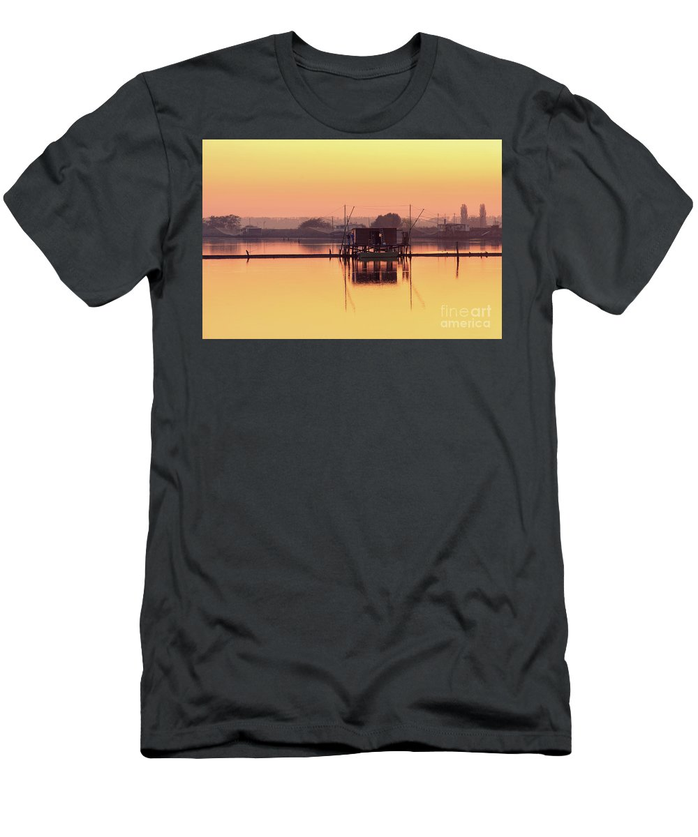 Po River Men's T-Shirt (Athletic Fit) featuring the photograph Valli Di Comacchio Sunset Ferrara Emilia Romagna Italy by Luca Lorenzelli