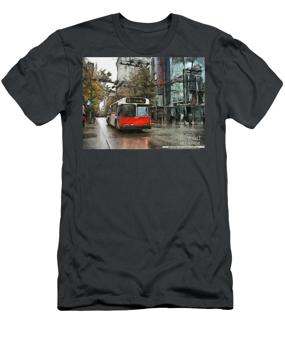 Vancouver Men's T-Shirt (Athletic Fit) featuring the painting Vancouver Streets by Murphy Elliott
