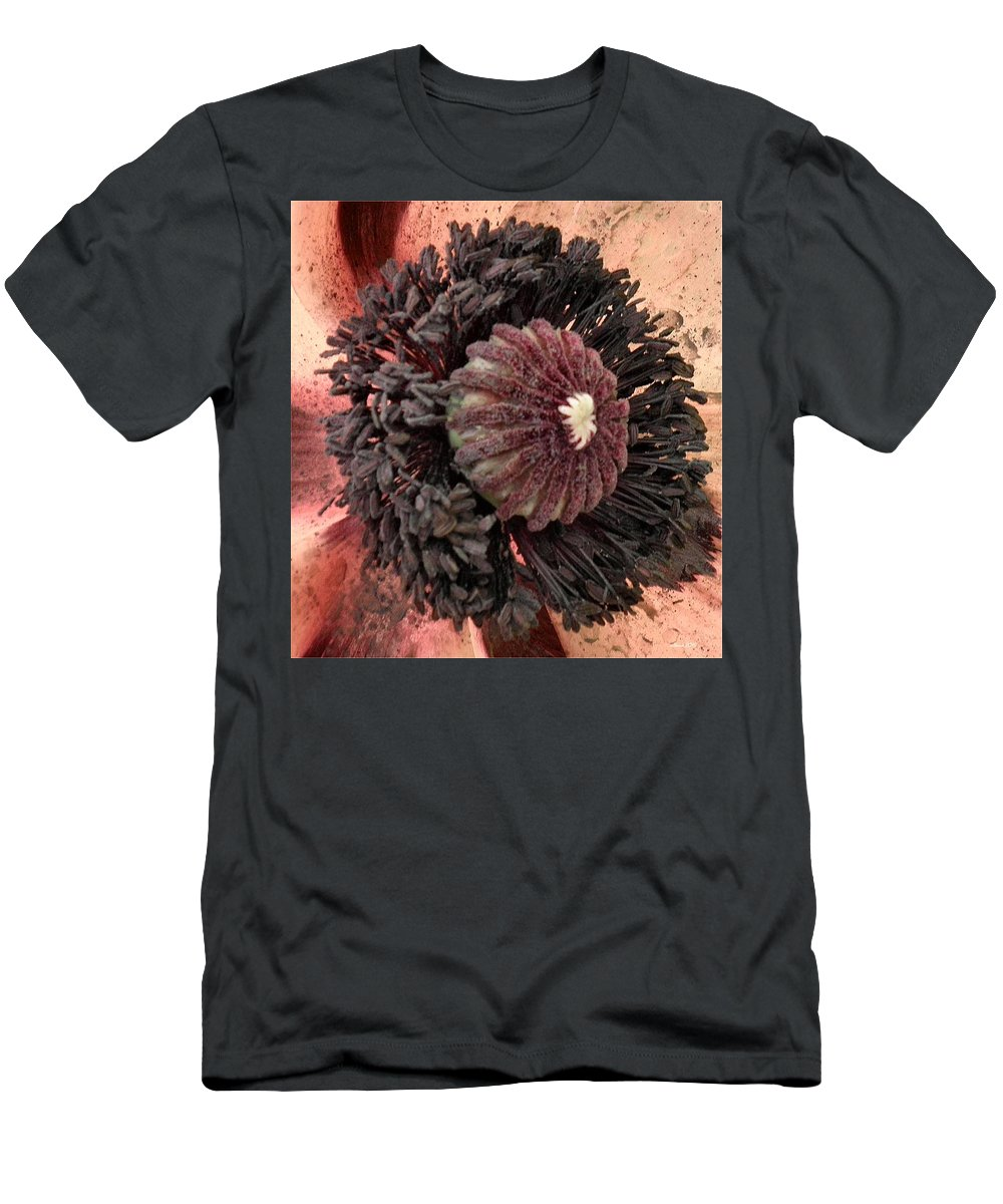 Poppy Men's T-Shirt (Athletic Fit) featuring the photograph Velvet Core On Pink by T Cook