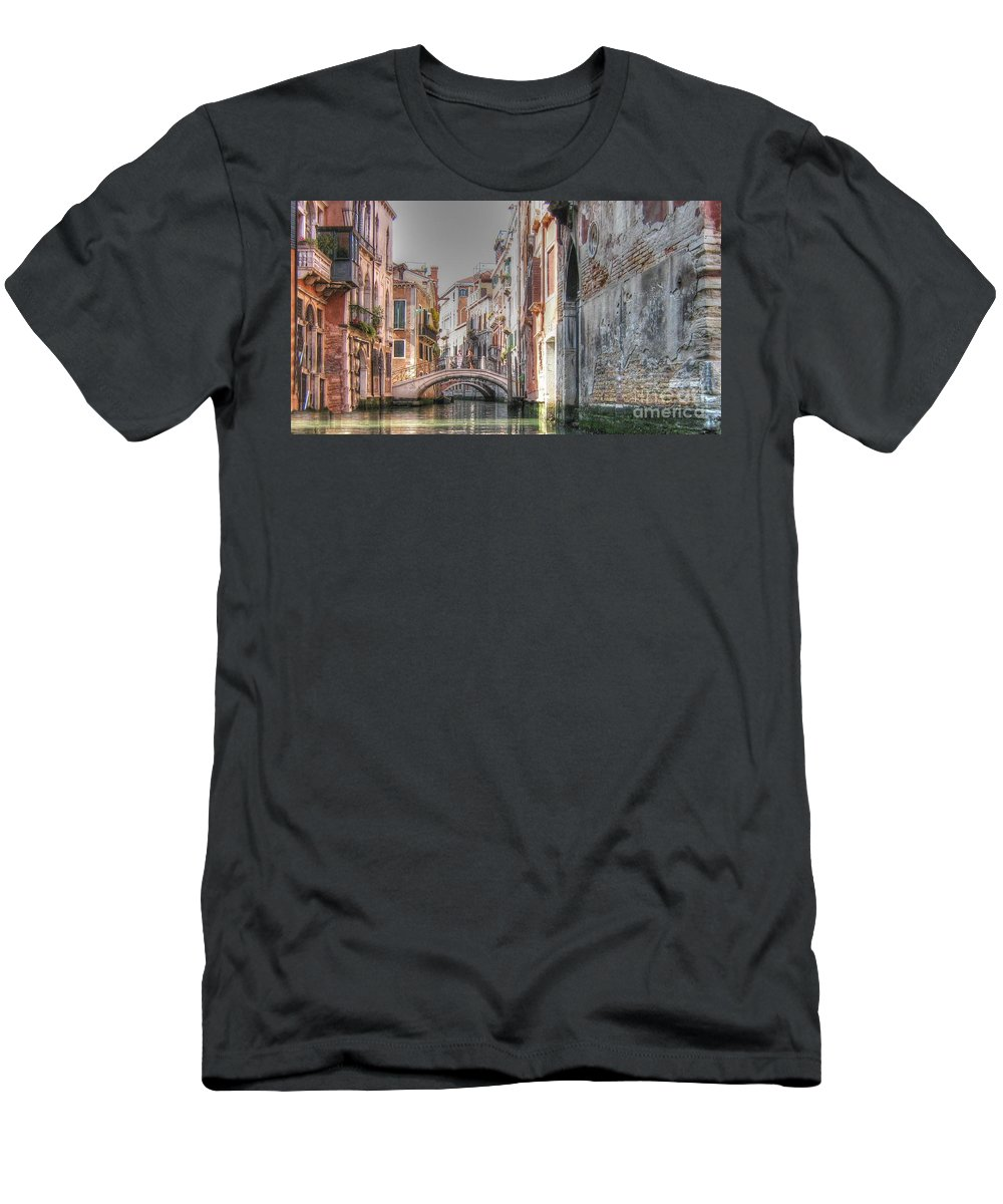 City Men's T-Shirt (Athletic Fit) featuring the pyrography Venice Channelss by Yury Bashkin
