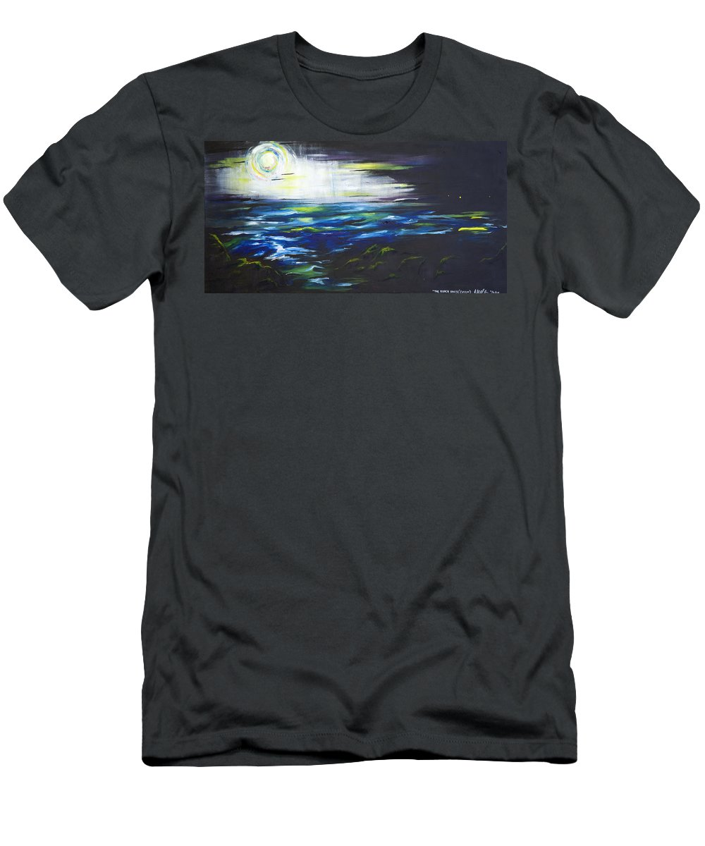 Night Men's T-Shirt (Athletic Fit) featuring the painting Ventura Seascape At Night by Sheridan Furrer
