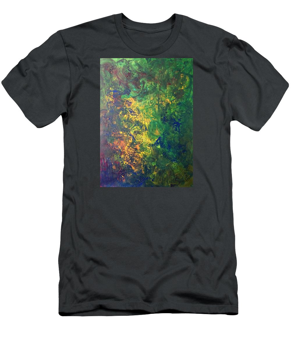 Abstract Art Men's T-Shirt (Athletic Fit) featuring the painting Venus Lunar Surface by John Dossman