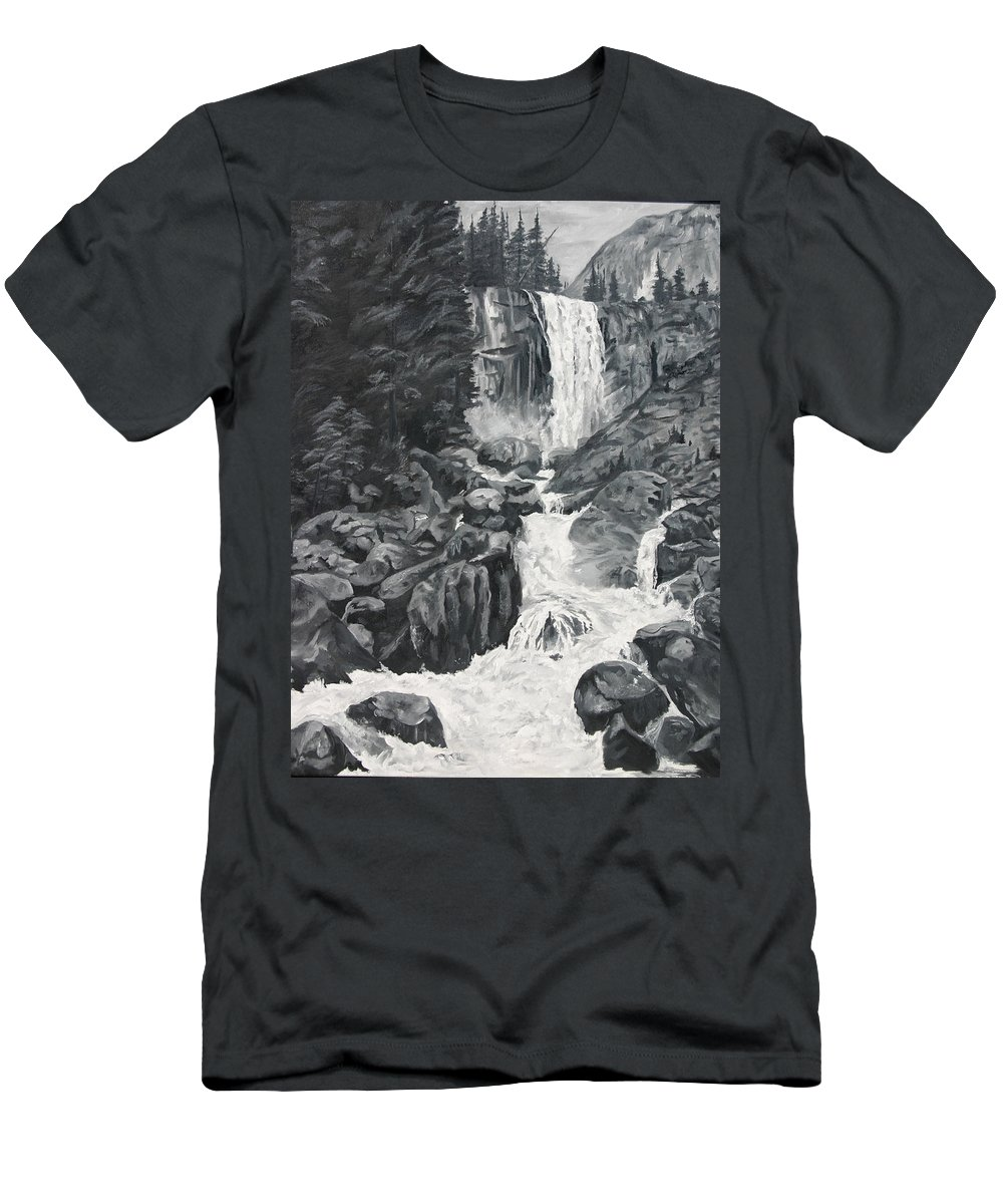Landscape Men's T-Shirt (Athletic Fit) featuring the painting Vernal Falls Black And White by Travis Day