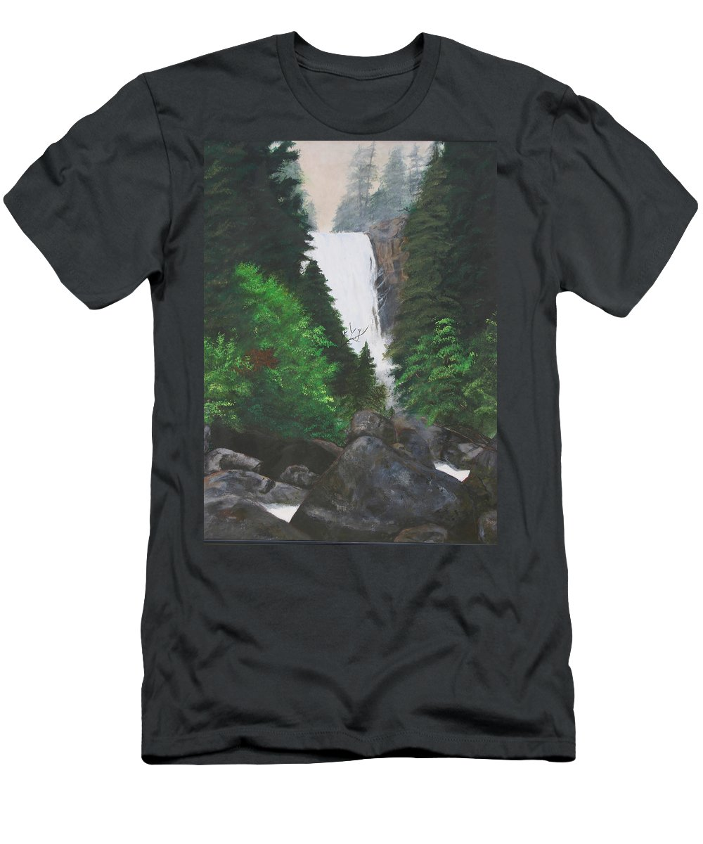 Landscape Men's T-Shirt (Athletic Fit) featuring the painting Vernal Falls by Travis Day