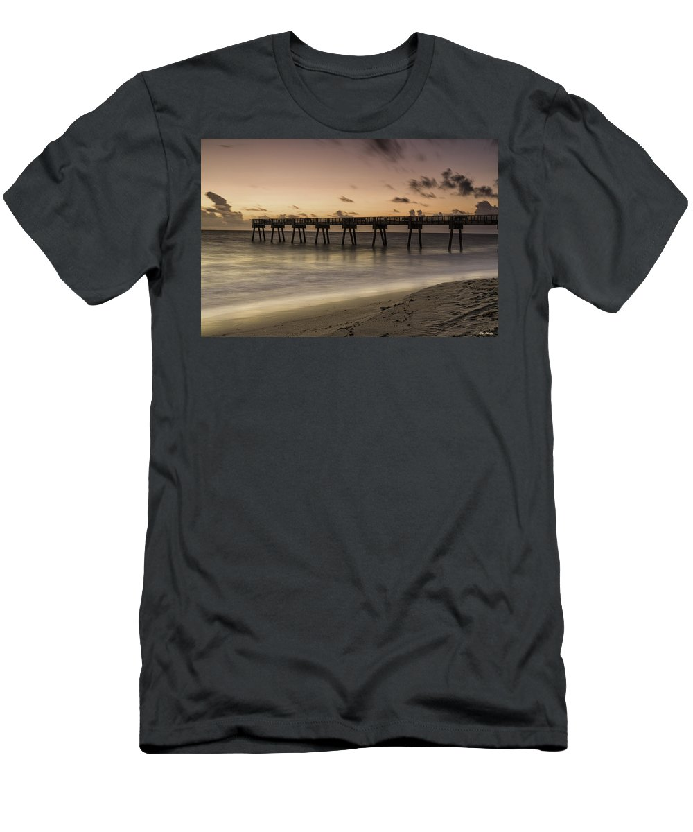 Pier Men's T-Shirt (Athletic Fit) featuring the photograph Vero Beach Sunrise by Fran Gallogly