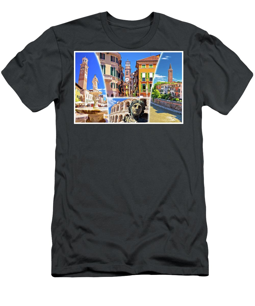 Verona Men's T-Shirt (Athletic Fit) featuring the photograph Verona Colorful Tourist Landmarks Postcard by Brch Photography