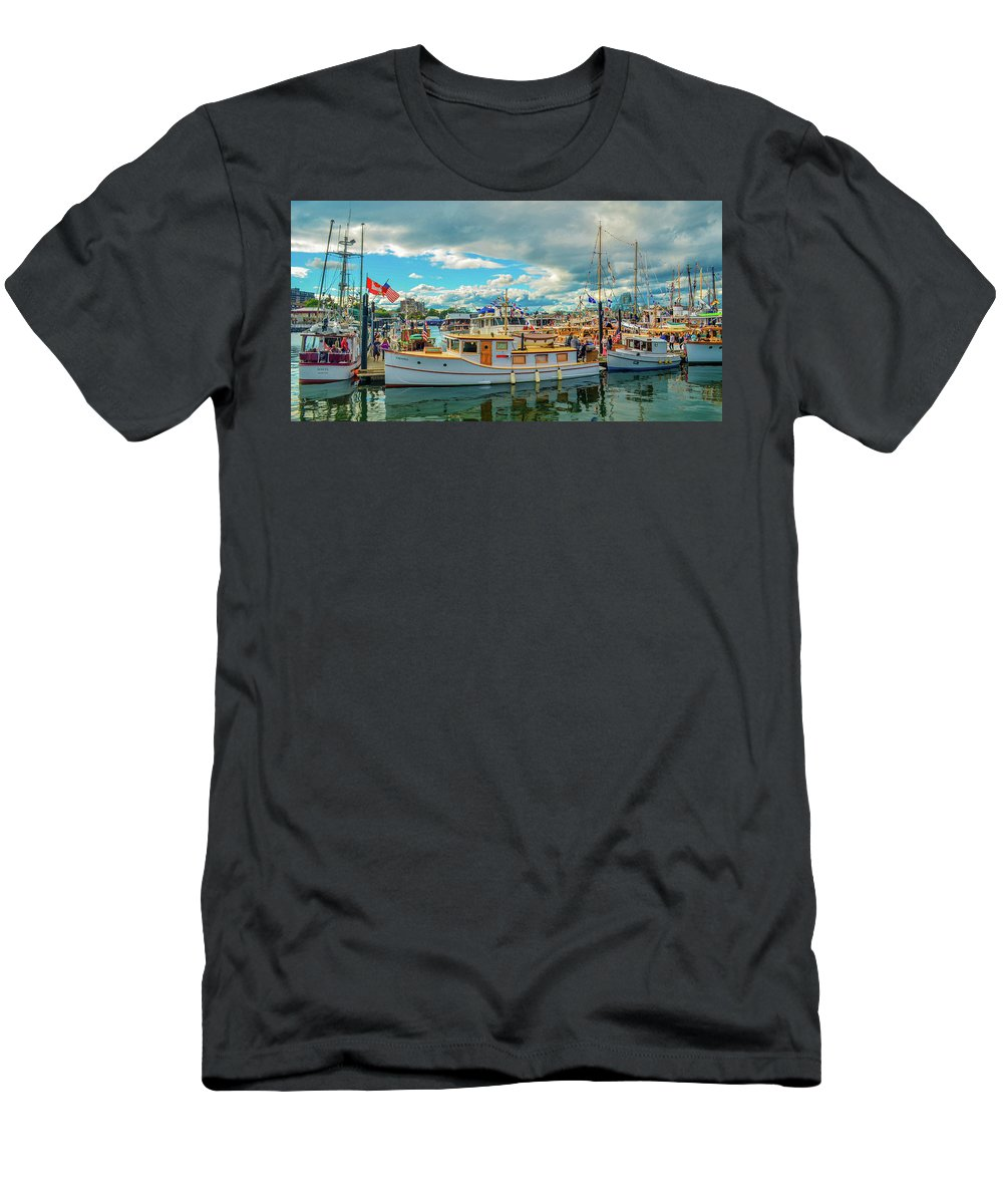 Boats T-Shirt featuring the photograph Victoria Harbor old boats by Jason Brooks