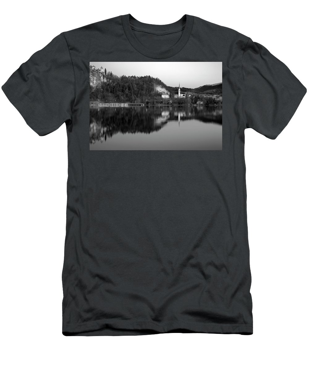 Bled Men's T-Shirt (Athletic Fit) featuring the photograph View Across Lake Bled In Black And White by Ian Middleton