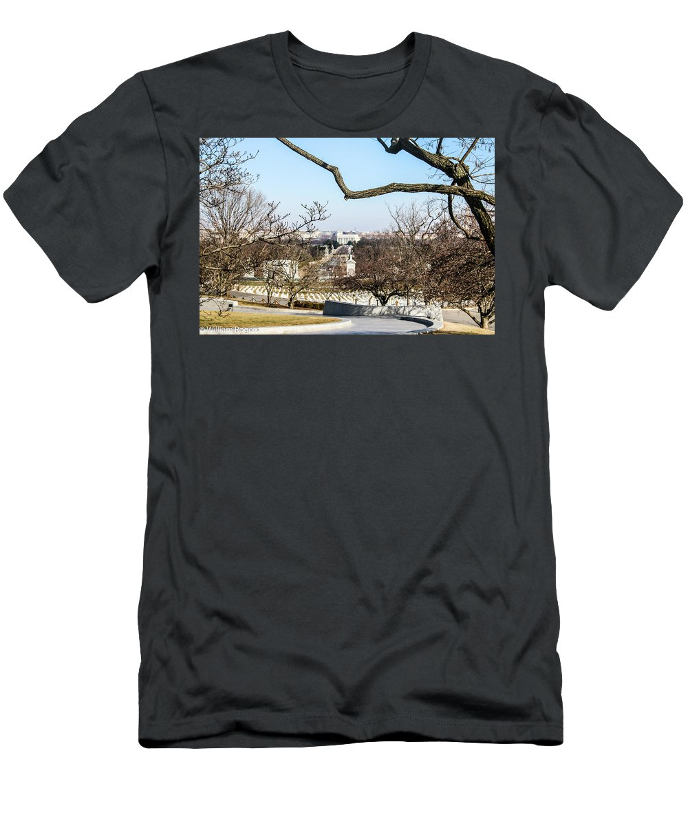 This Is A Photo From Arlington Cemetery A View From John F Kennedy's Grave Men's T-Shirt (Athletic Fit) featuring the photograph View From John F Kennedys Grave by William Rogers