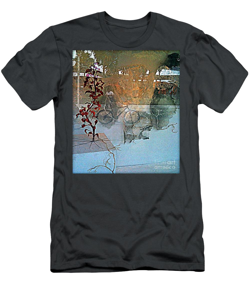 Fania Simon Men's T-Shirt (Athletic Fit) featuring the mixed media View From The Window by Fania Simon