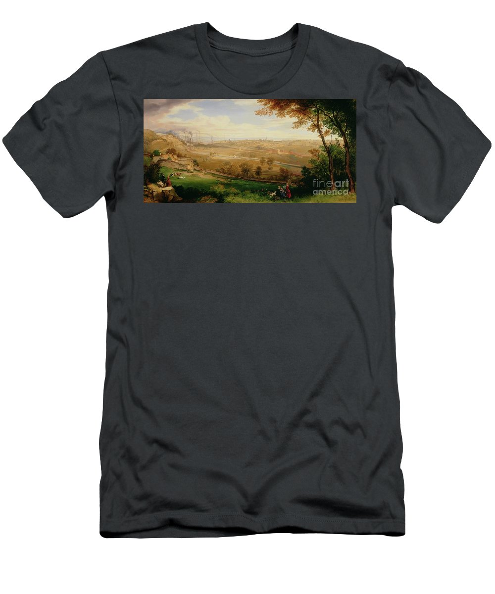 View Men's T-Shirt (Athletic Fit) featuring the painting View Of Bradford by William Cowen