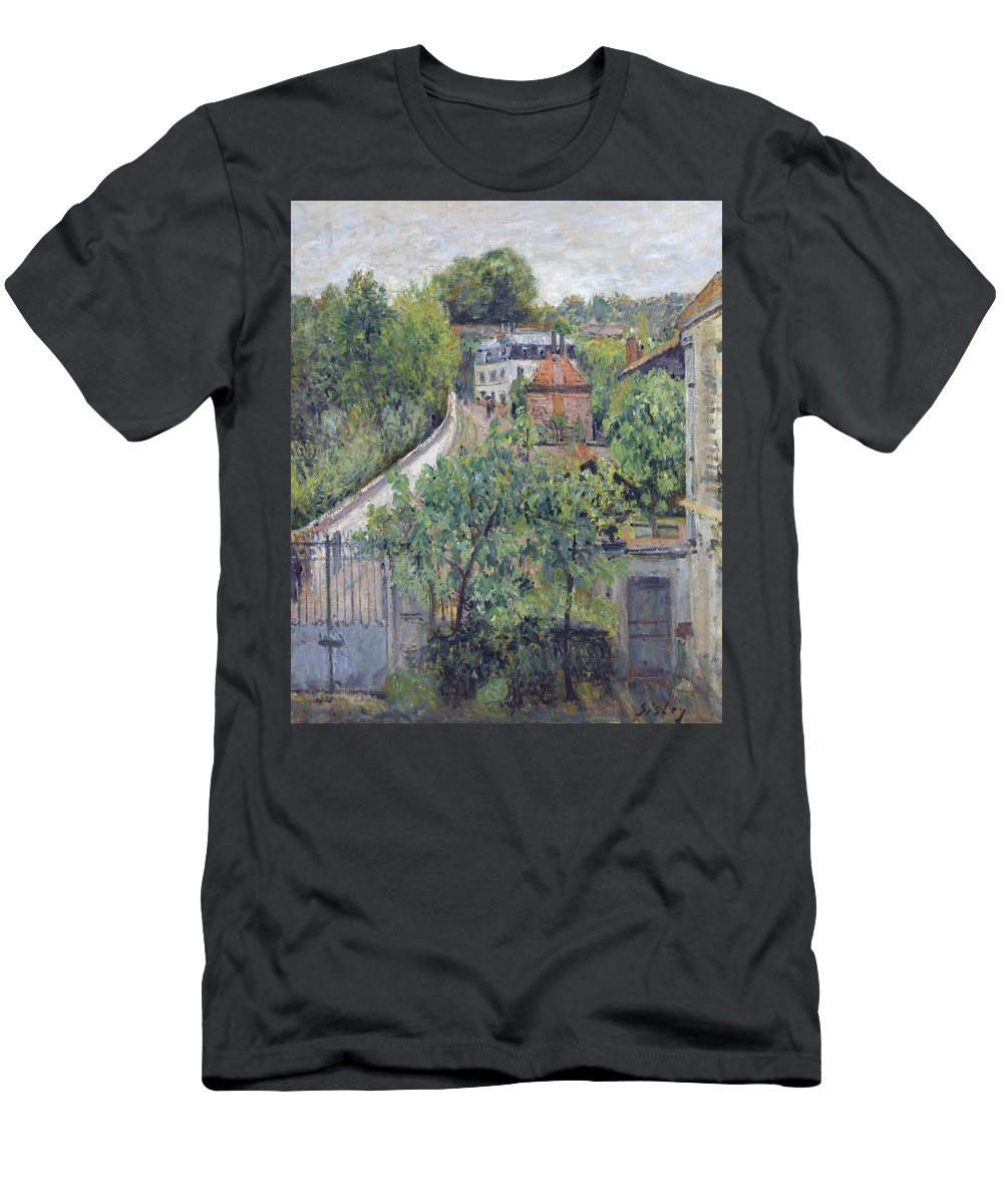 View Of Serves Men's T-Shirt (Athletic Fit) featuring the painting View Of Serves by MotionAge Designs
