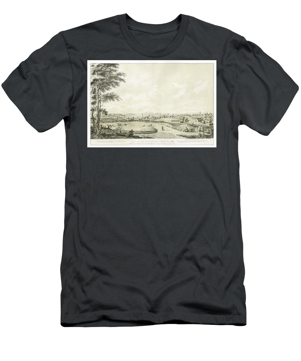 View Of The City Of New York In 1792 By George Hayward Men's T-Shirt (Athletic Fit) featuring the painting View Of The City Of New York by George Hayward
