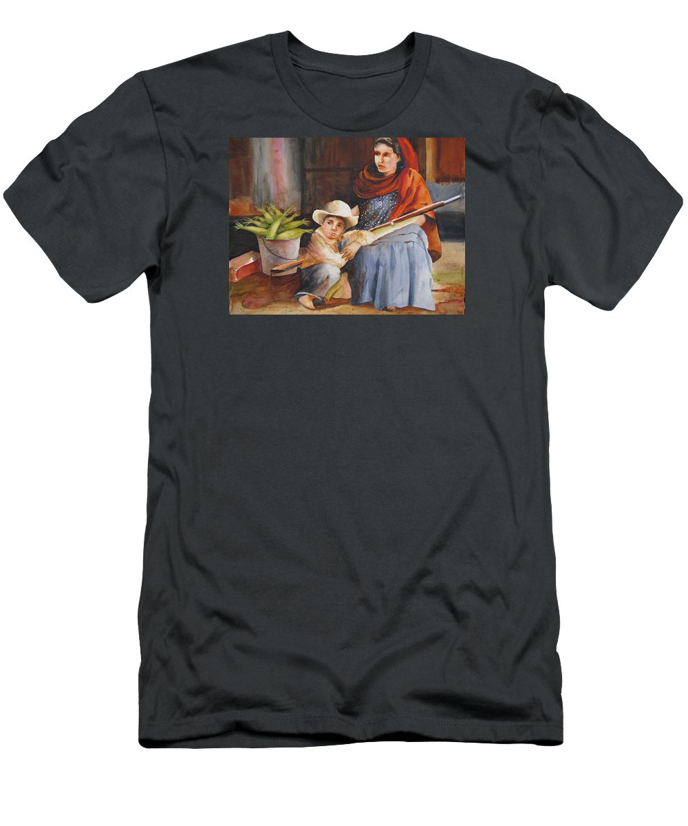 Mother Men's T-Shirt (Athletic Fit) featuring the painting Vigil by Karen Stark