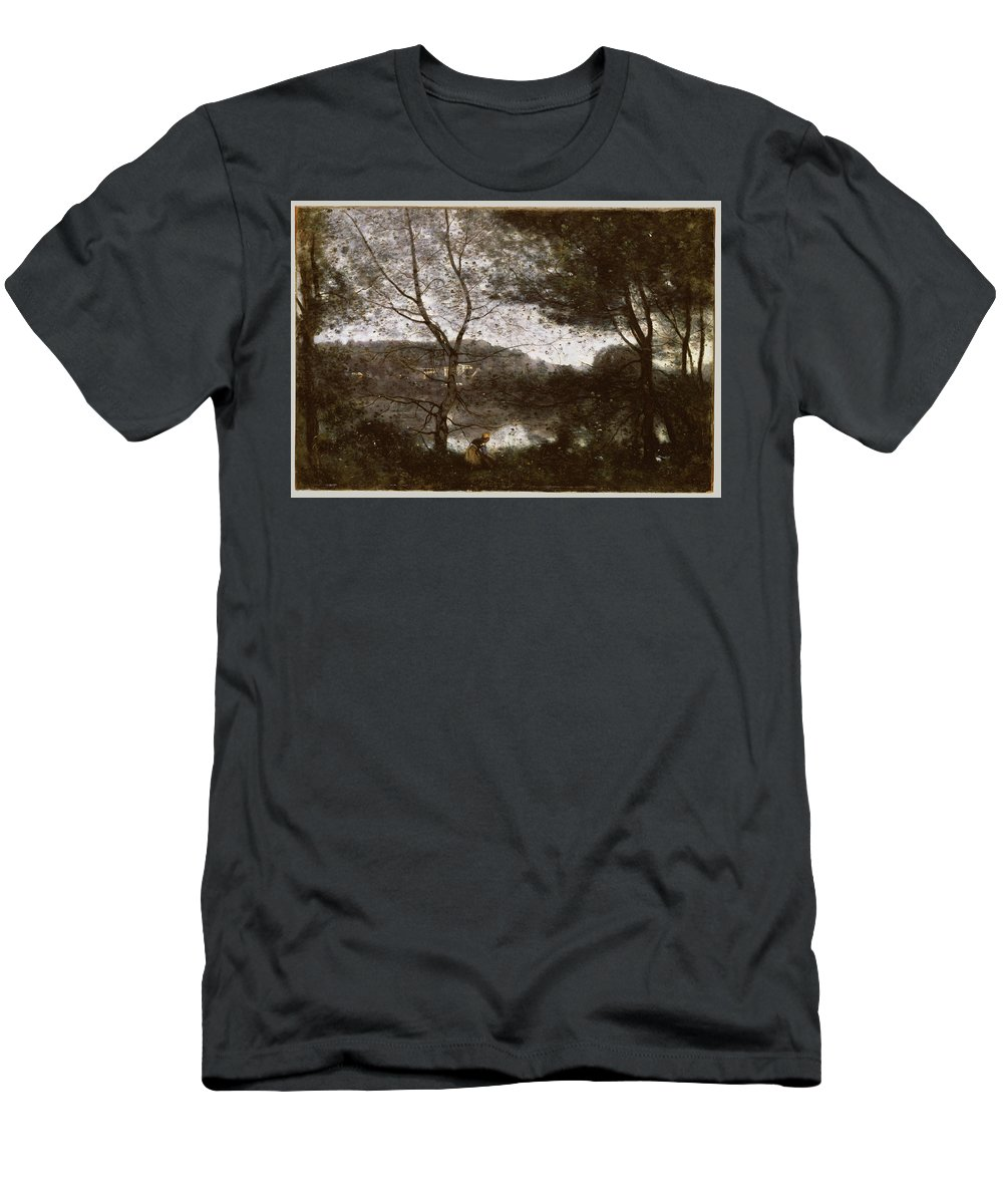 Ville-d'avray Men's T-Shirt (Athletic Fit) featuring the painting Ville by Camille Corot