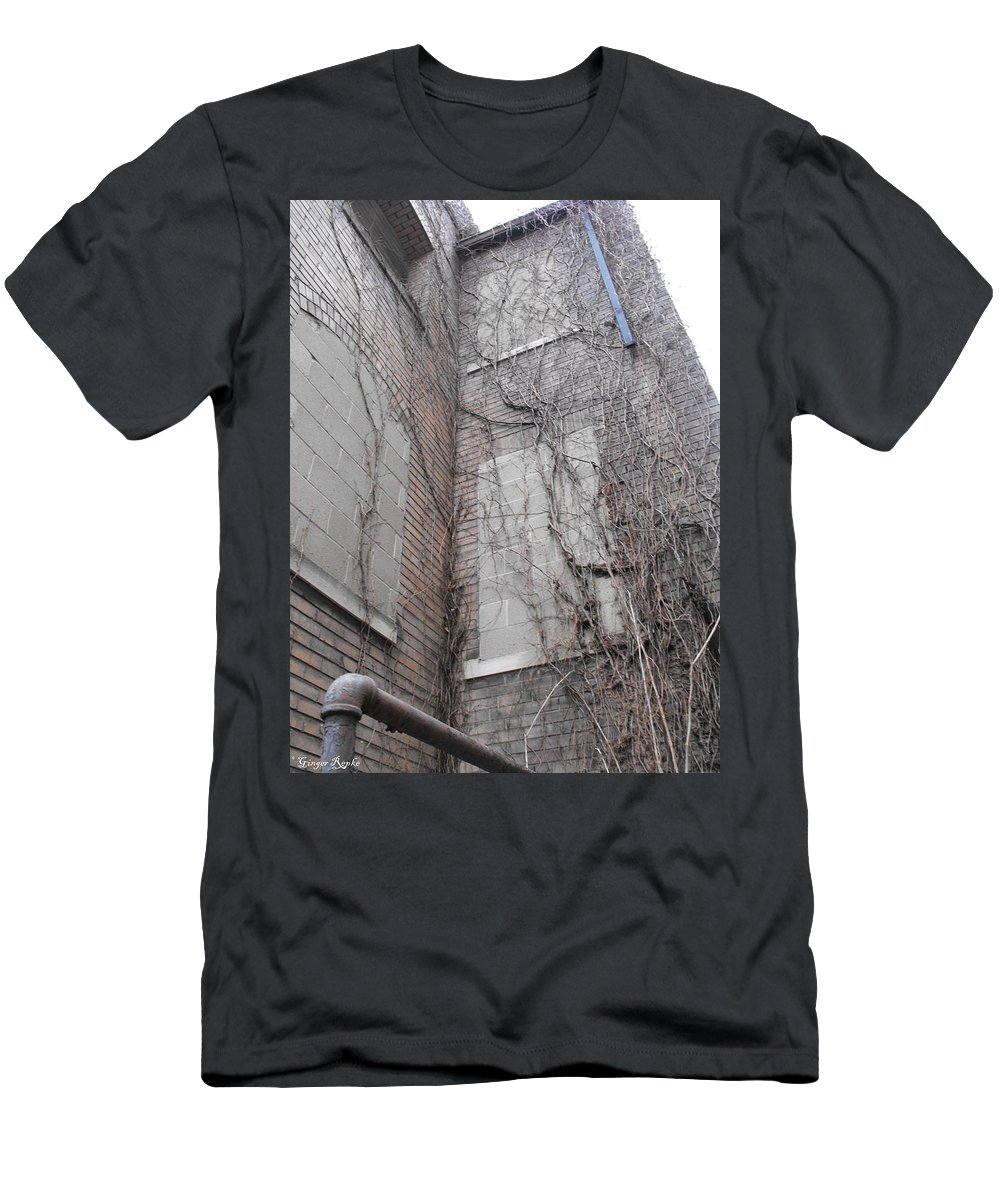Brick Men's T-Shirt (Athletic Fit) featuring the photograph Vine Covered Dormitory by Ginger Repke