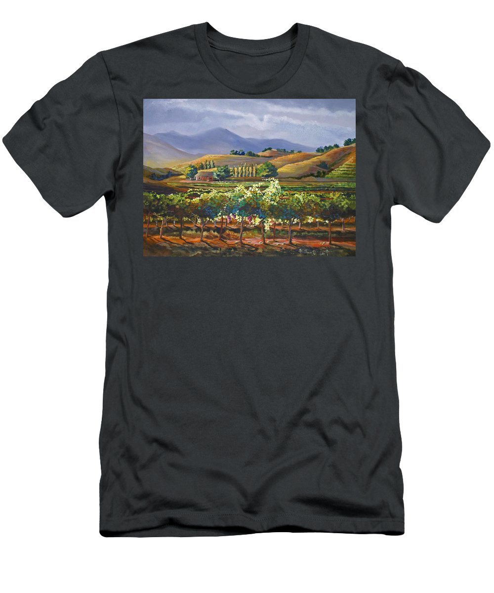 Vineyard Men's T-Shirt (Athletic Fit) featuring the painting Vineyard In California by Heather Coen